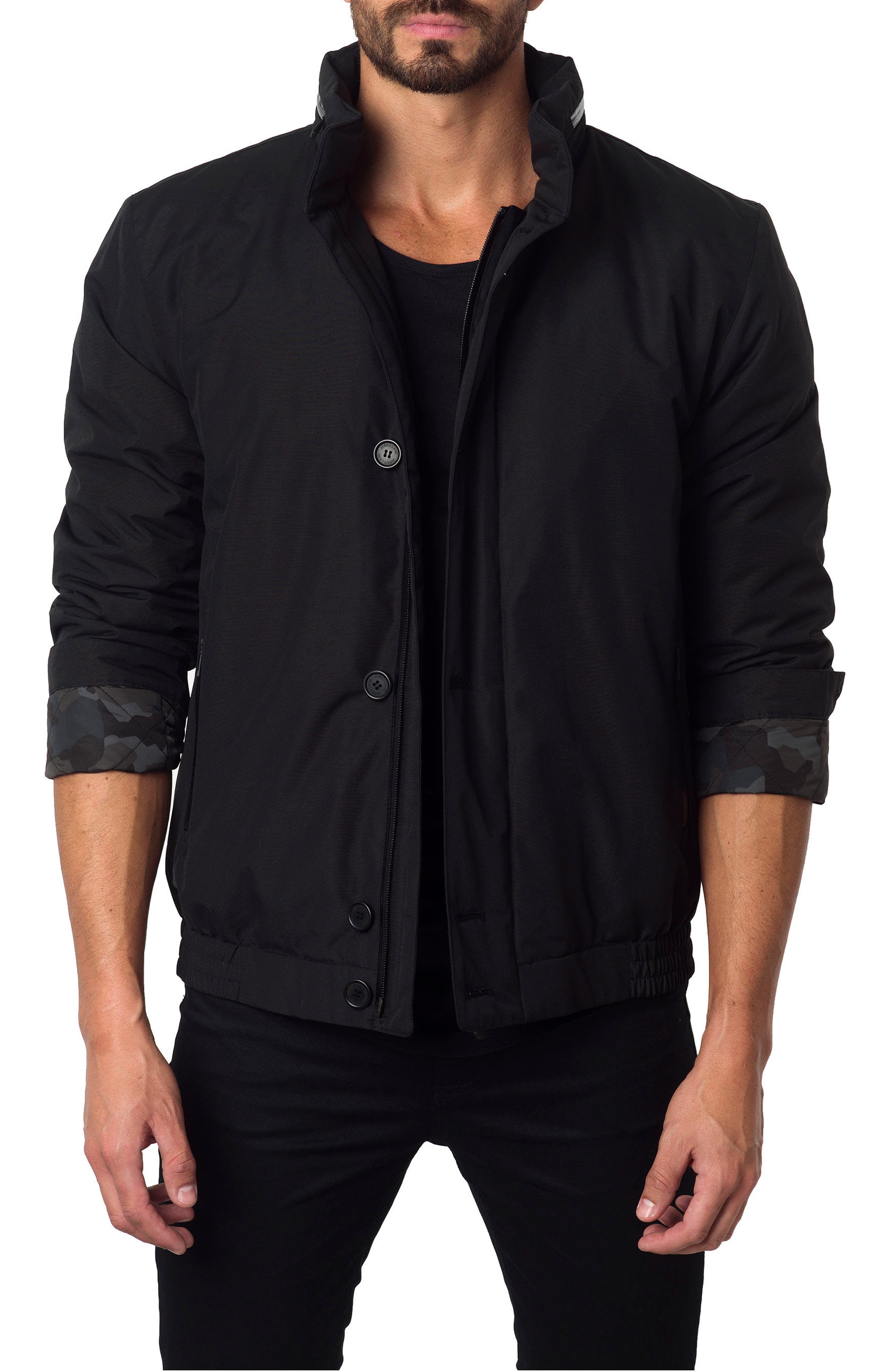 Water-Repellent Jacket,                             Main thumbnail 1, color,                             Black Cotton Tek