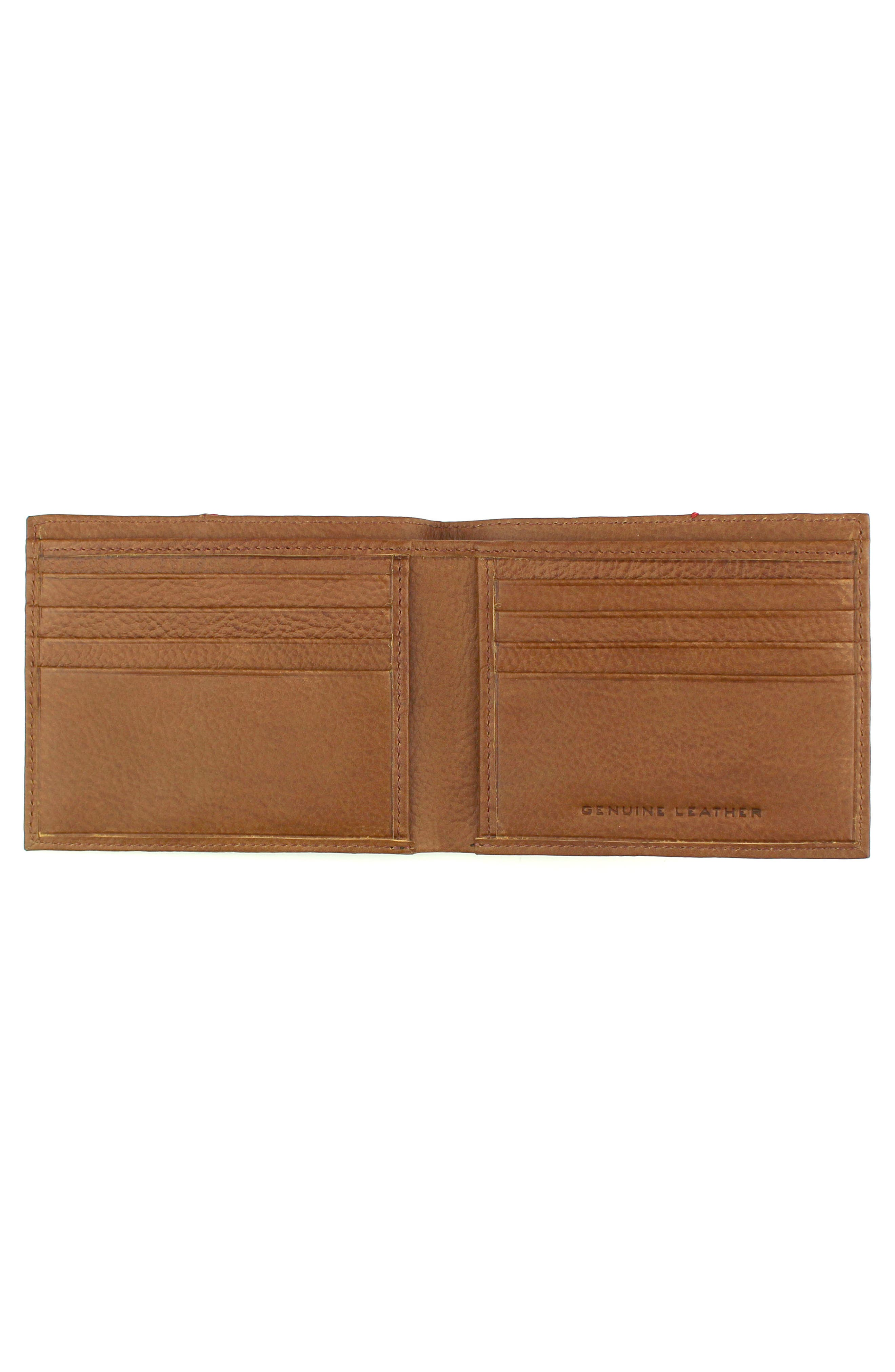 Home Run Bifold Leather Wallet,                             Alternate thumbnail 2, color,                             Cognac