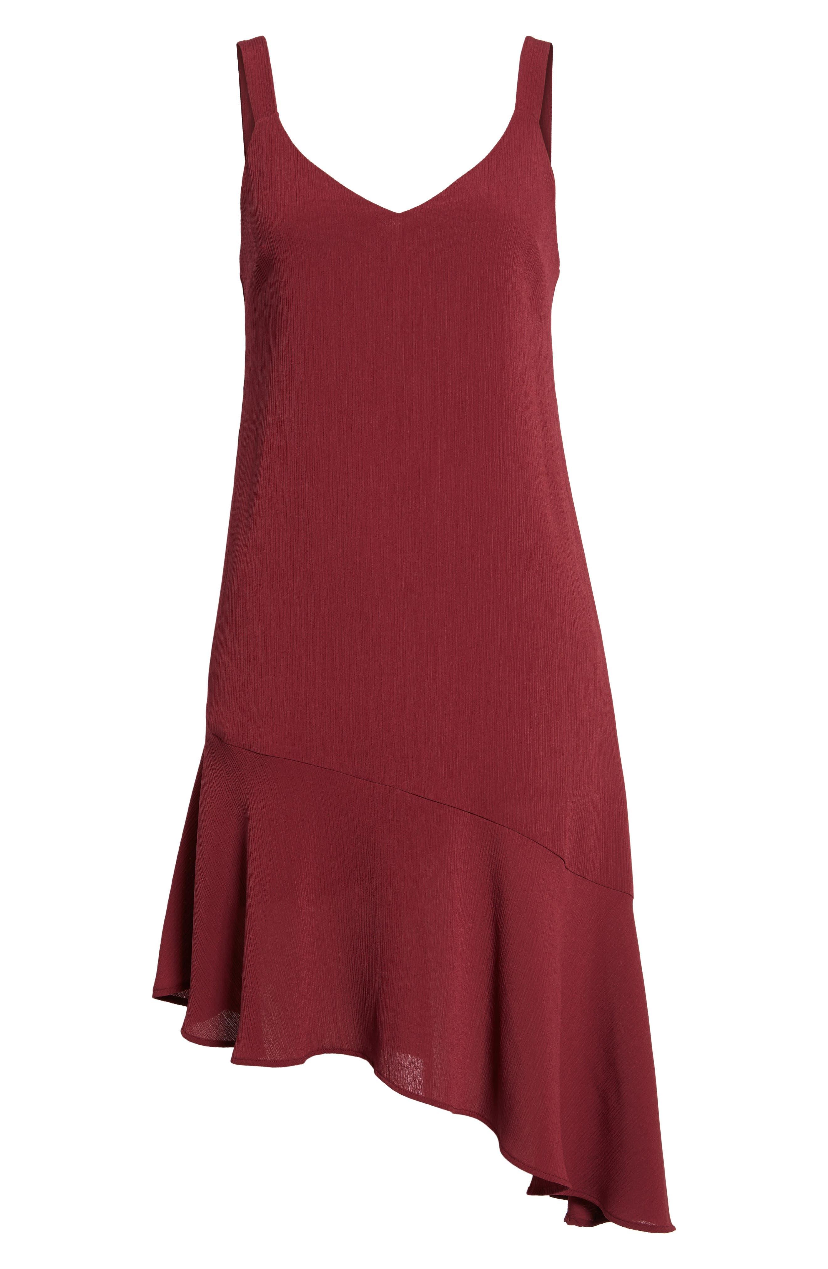 Asymmetrical Ruffle Hem Dress,                             Alternate thumbnail 6, color,                             Red Tannin
