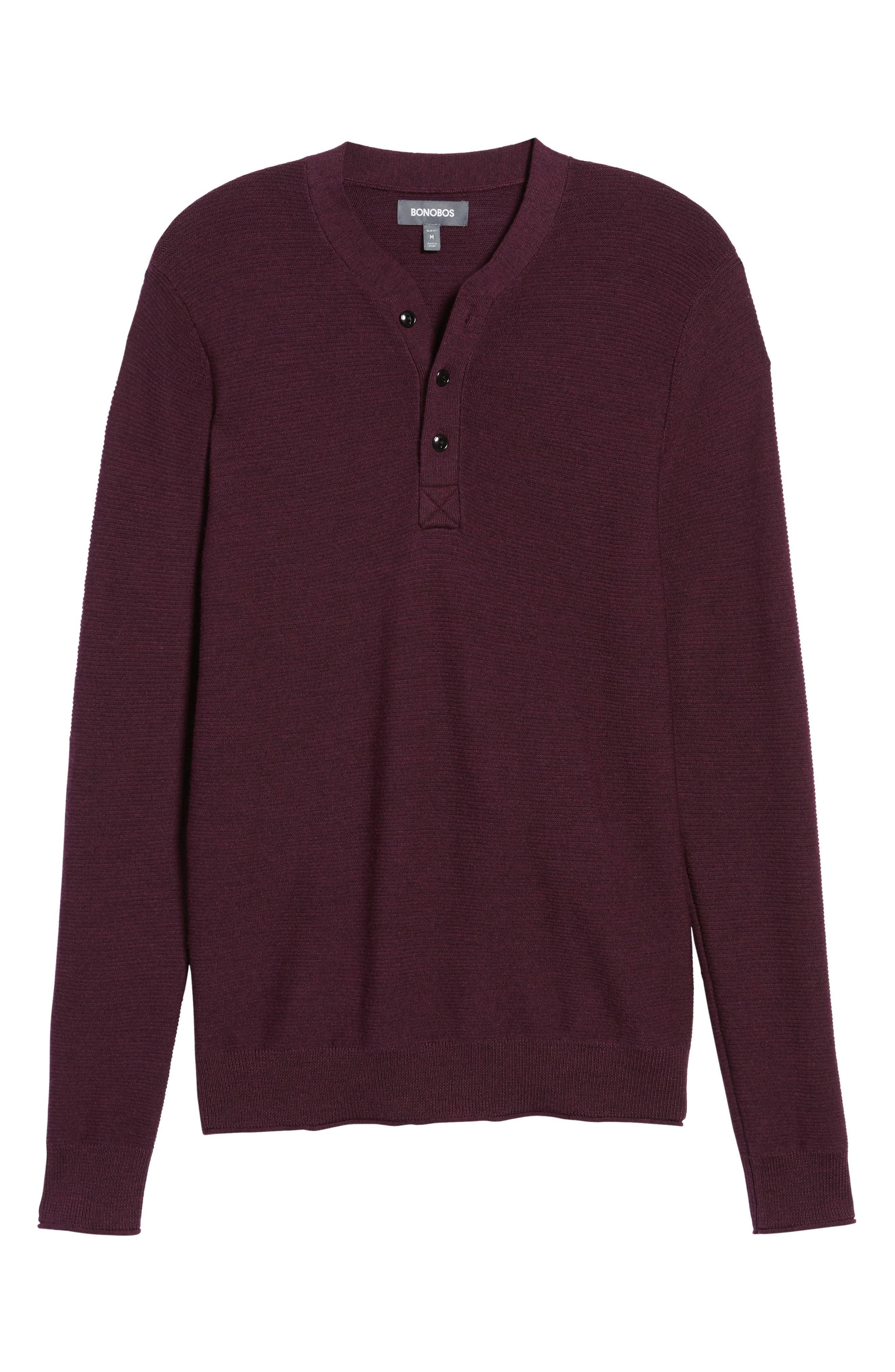 Alternate Image 6  - Bonobos Slim Fit Merino Long Sleeve Henley Sweater