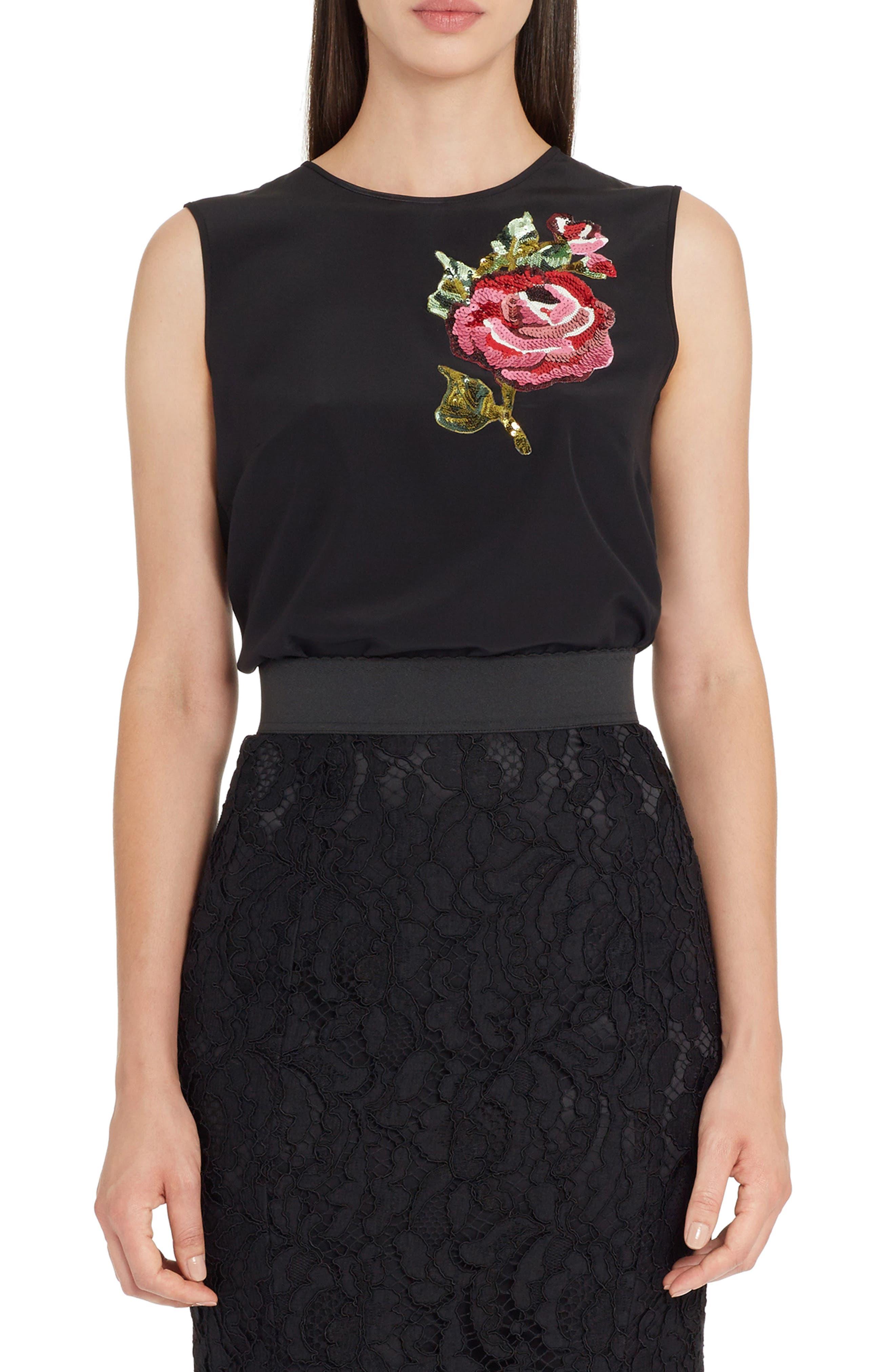 Rose Embellished Silk Blouse,                         Main,                         color, Black
