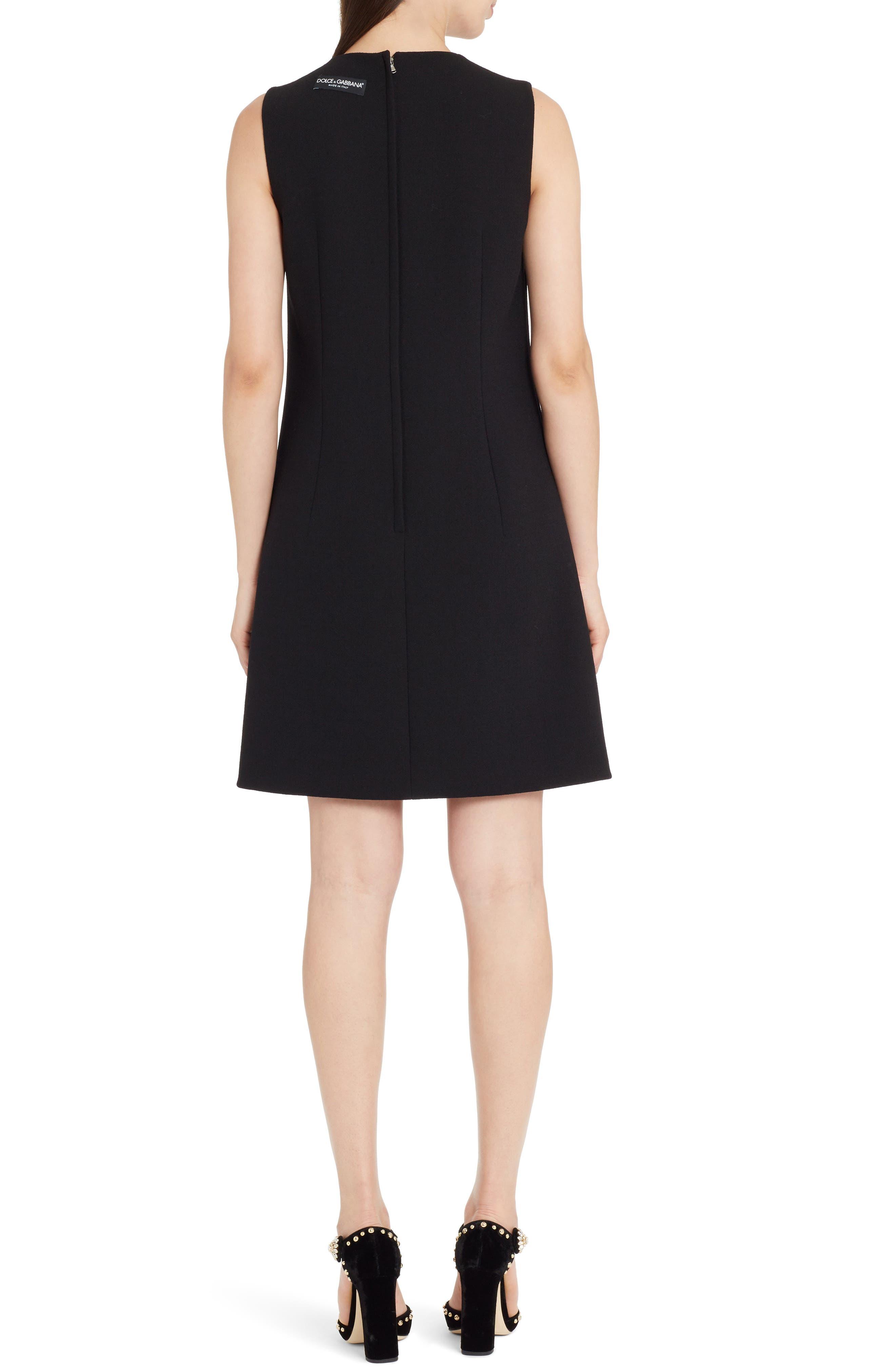 Sequin Logo Crepe A-Line Dress,                             Alternate thumbnail 2, color,                             Black
