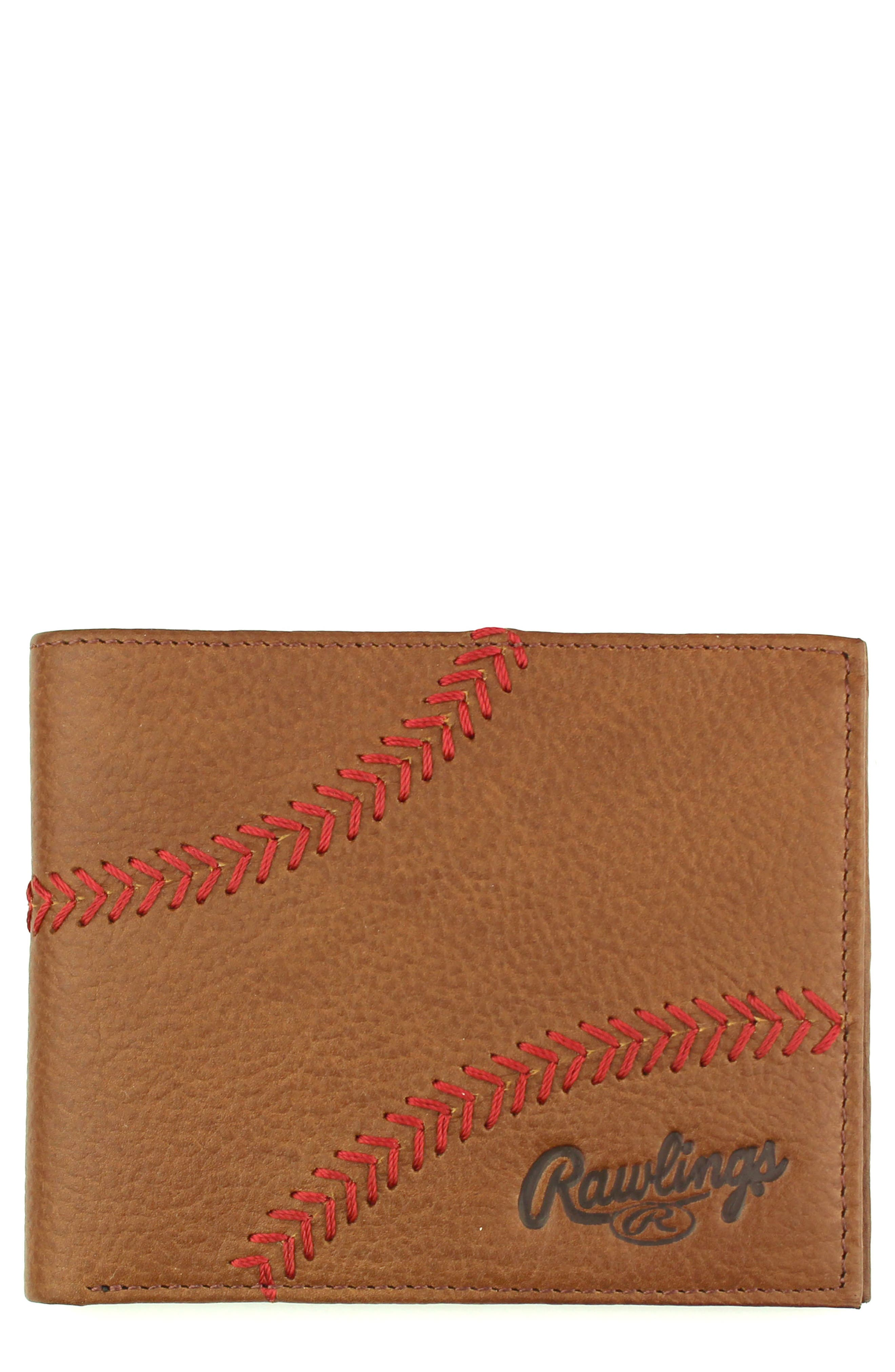 Home Run Bifold Leather Wallet,                             Main thumbnail 1, color,                             Cognac