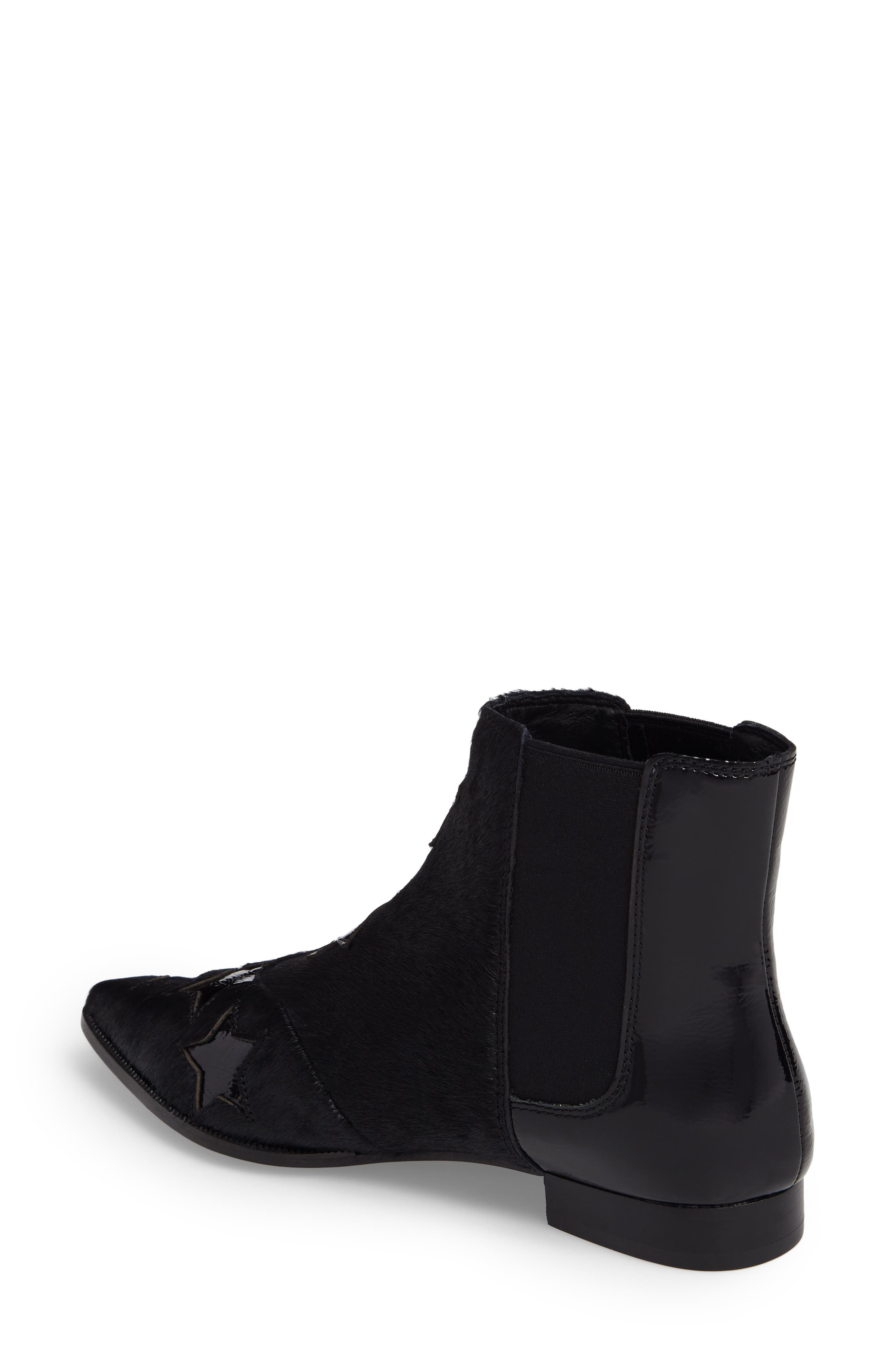 Bliss Genuine Calf Hair Chelsea Bootie,                             Alternate thumbnail 2, color,                             Black Leather