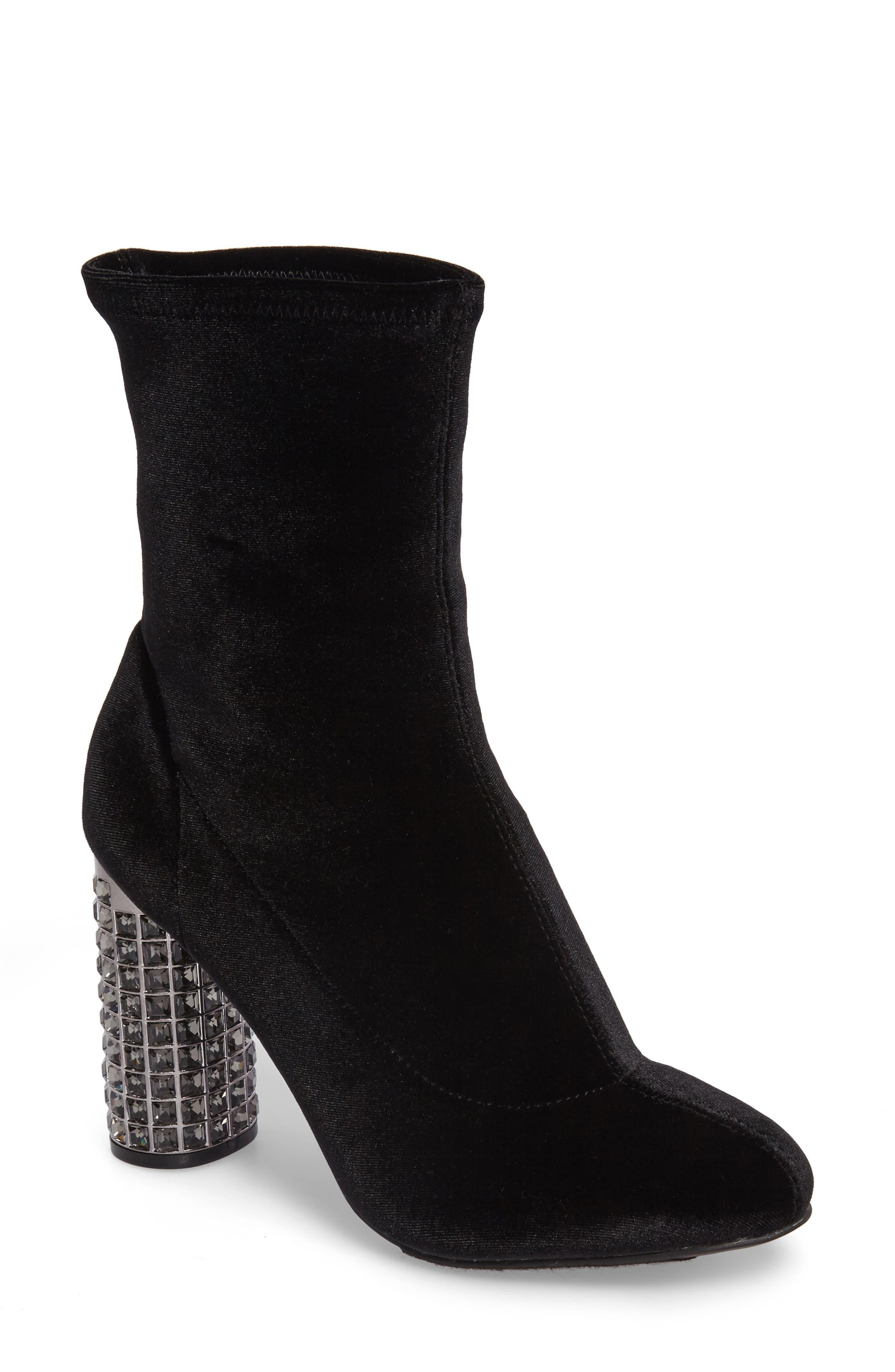 Iyonna Bootie,                         Main,                         color, Black Stretch Velvet