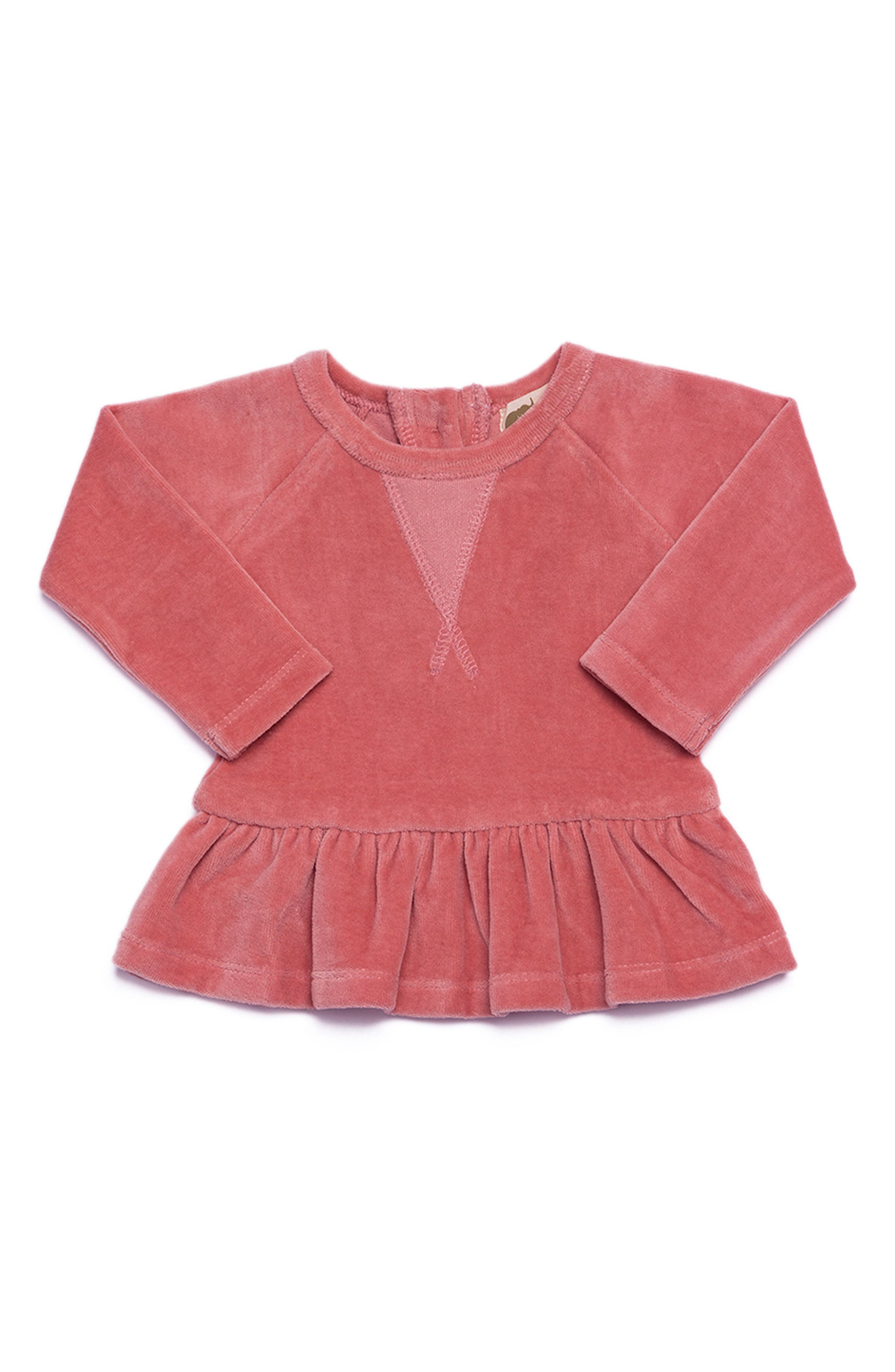 Organic Cotton Peplum Sweatshirt,                         Main,                         color, Dusty Pink