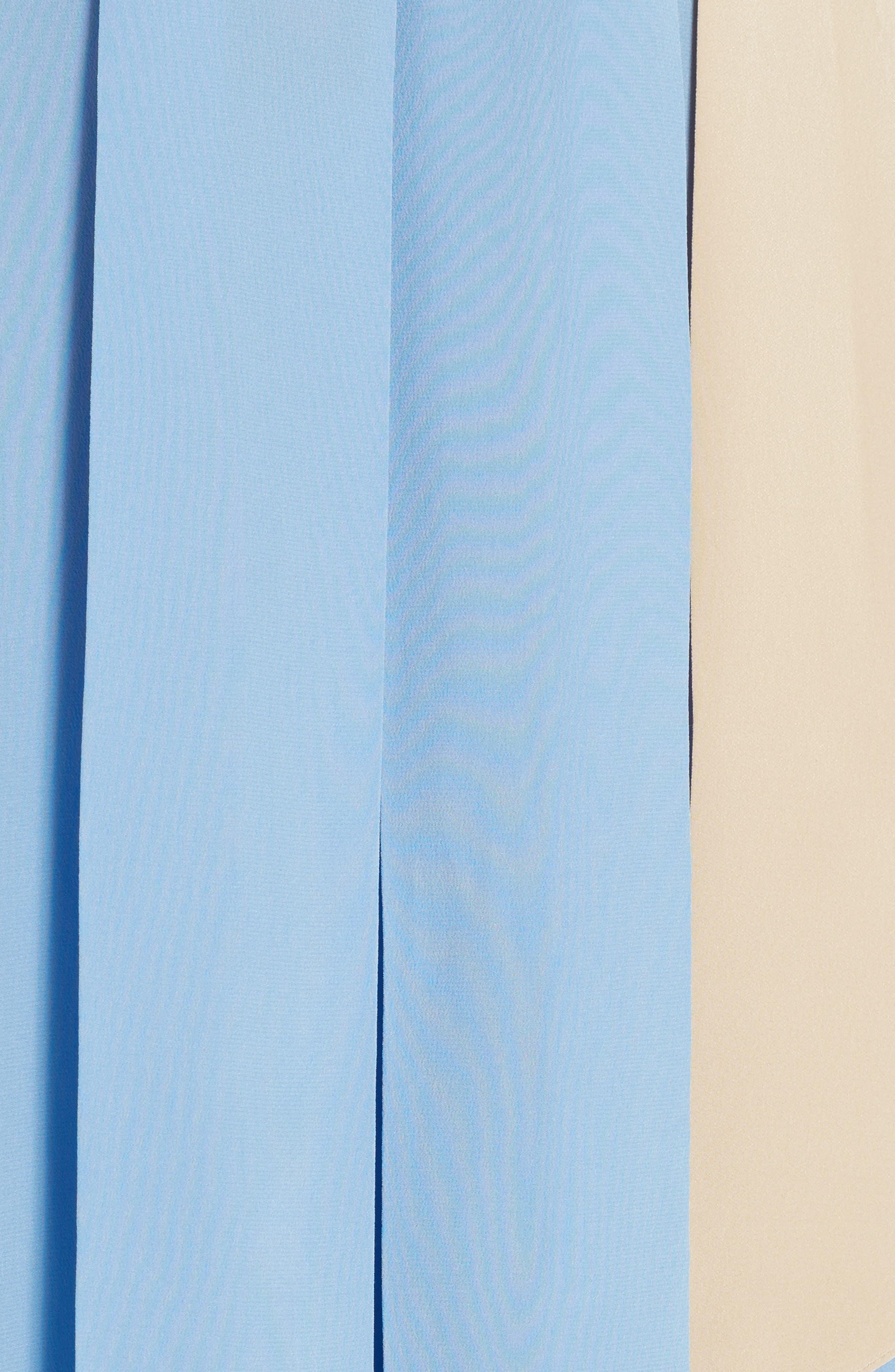 Drape Silk Crêpe de Chine Blouse,                             Alternate thumbnail 5, color,                             Faith Blue