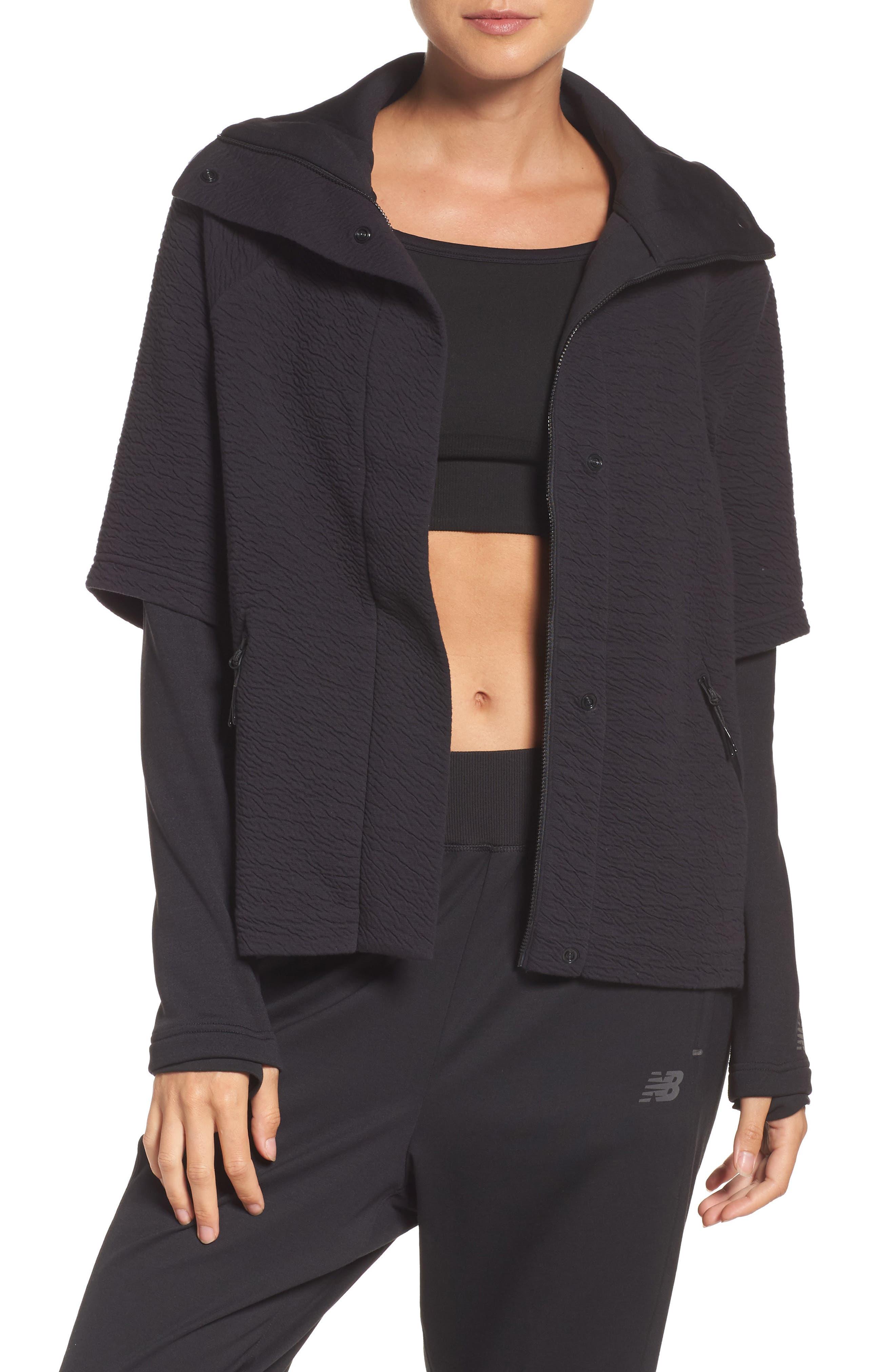 Heat Knit Drape Jacket,                             Main thumbnail 1, color,                             Bk