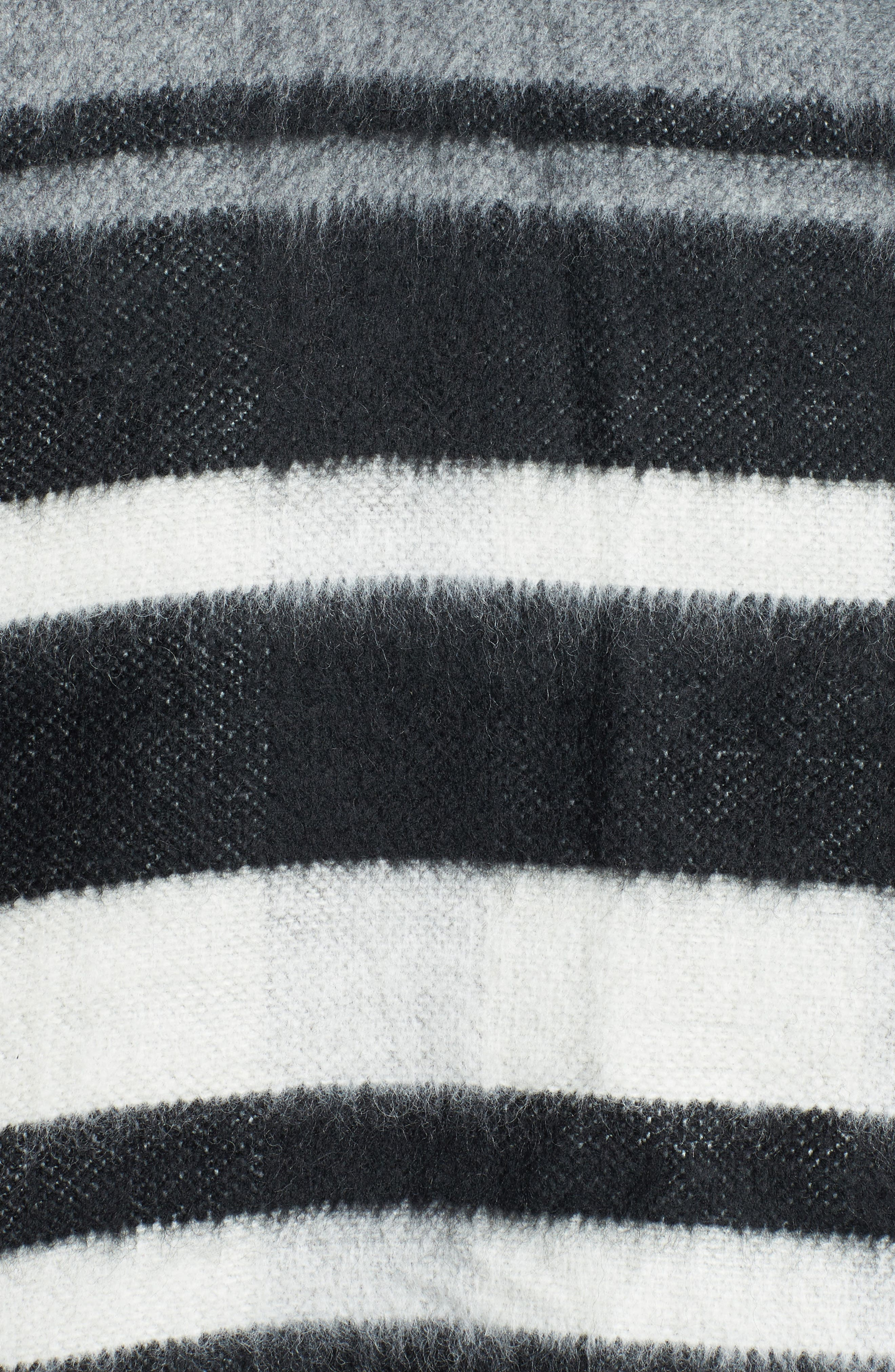 Accessory Collective Stripe Ruana,                             Alternate thumbnail 5, color,                             Black/ Grey