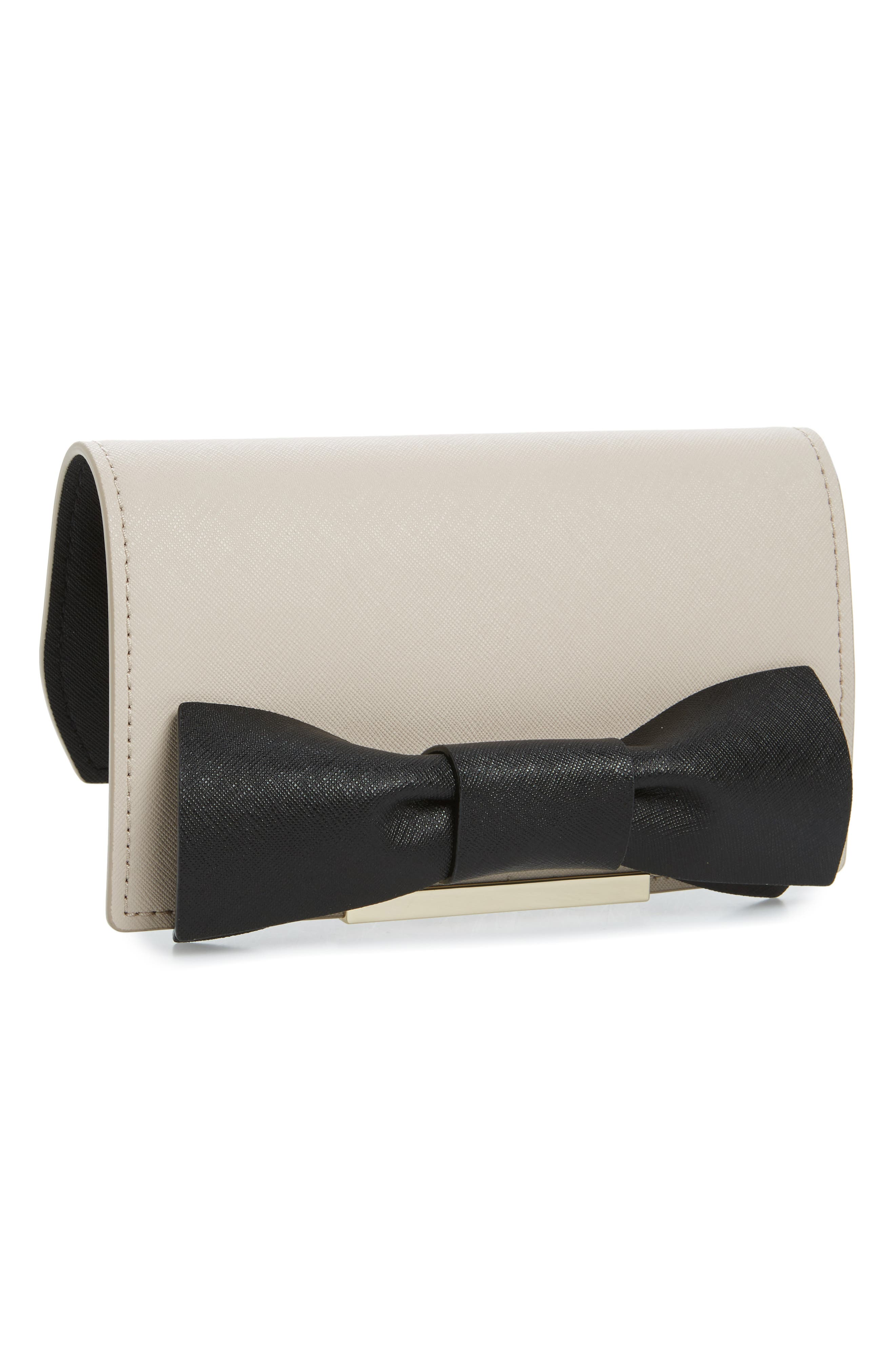 kate spade new york make it mine bow leather snap-on accent flap