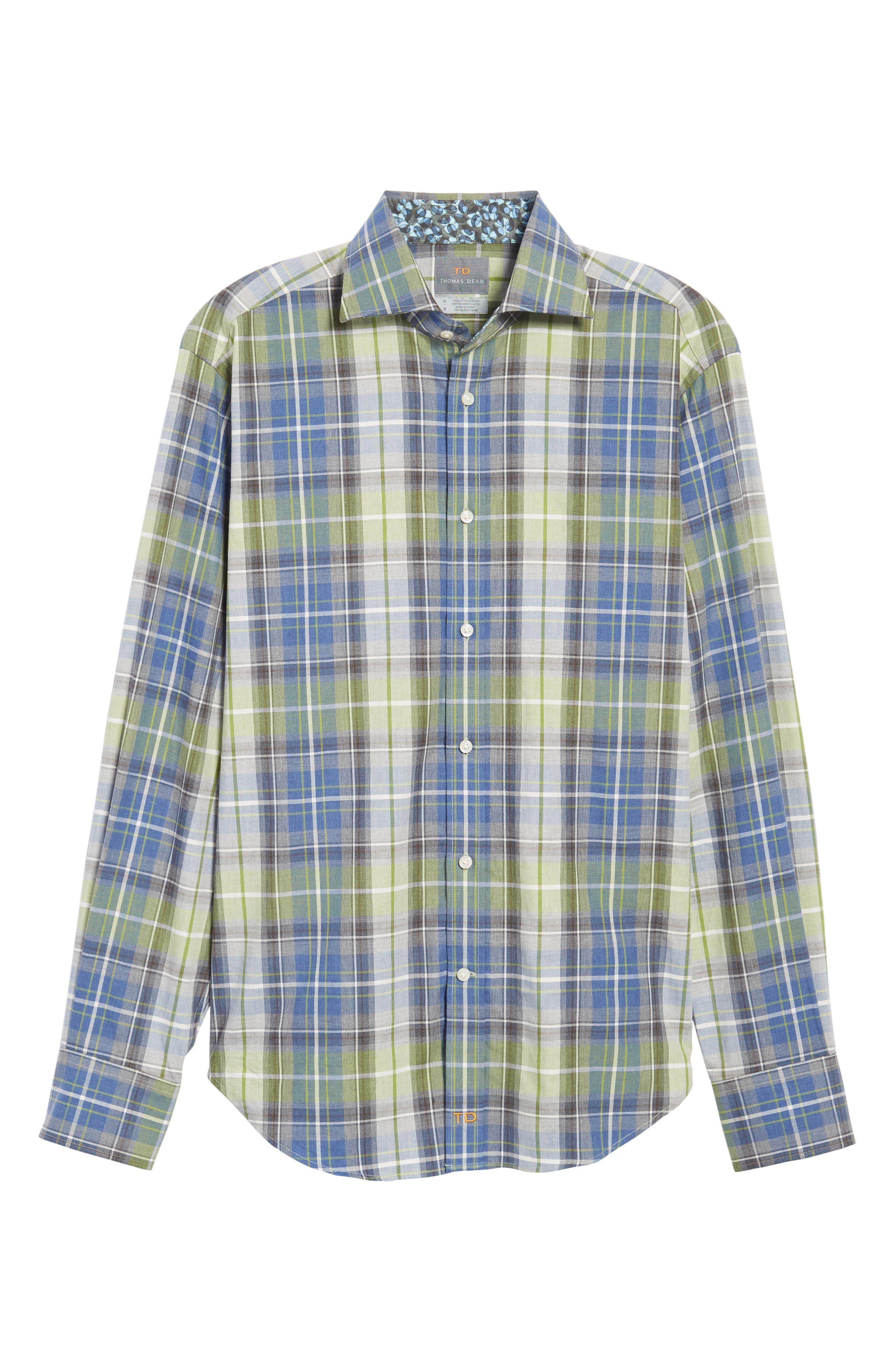 Alternate Image 6  - Thomas Dean Regular Fit Plaid Sport Shirt
