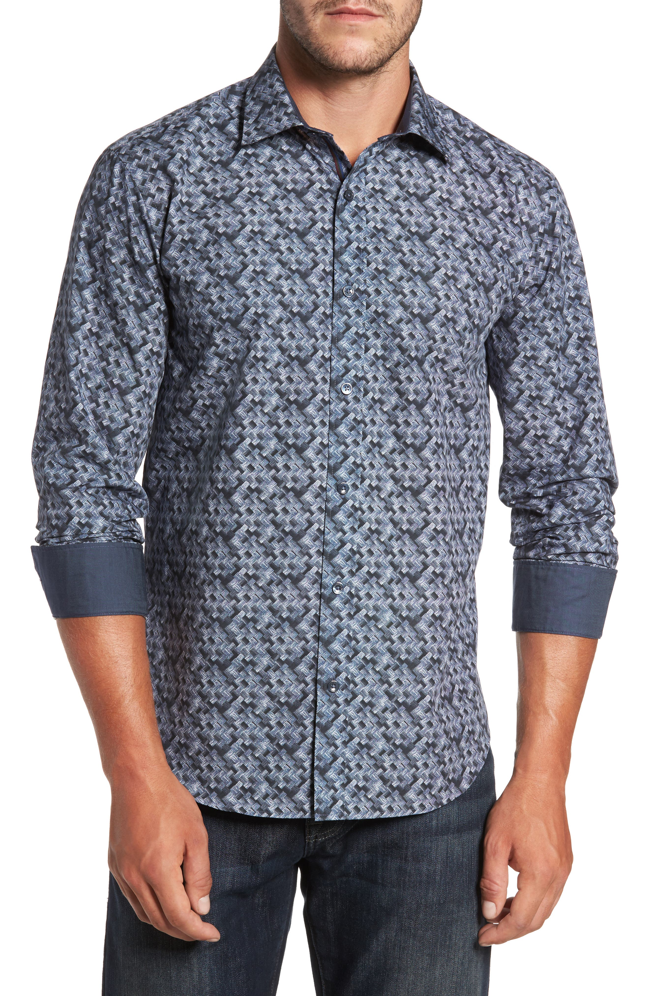 Shaped Fit Print Sport Shirt,                             Main thumbnail 1, color,                             Steel