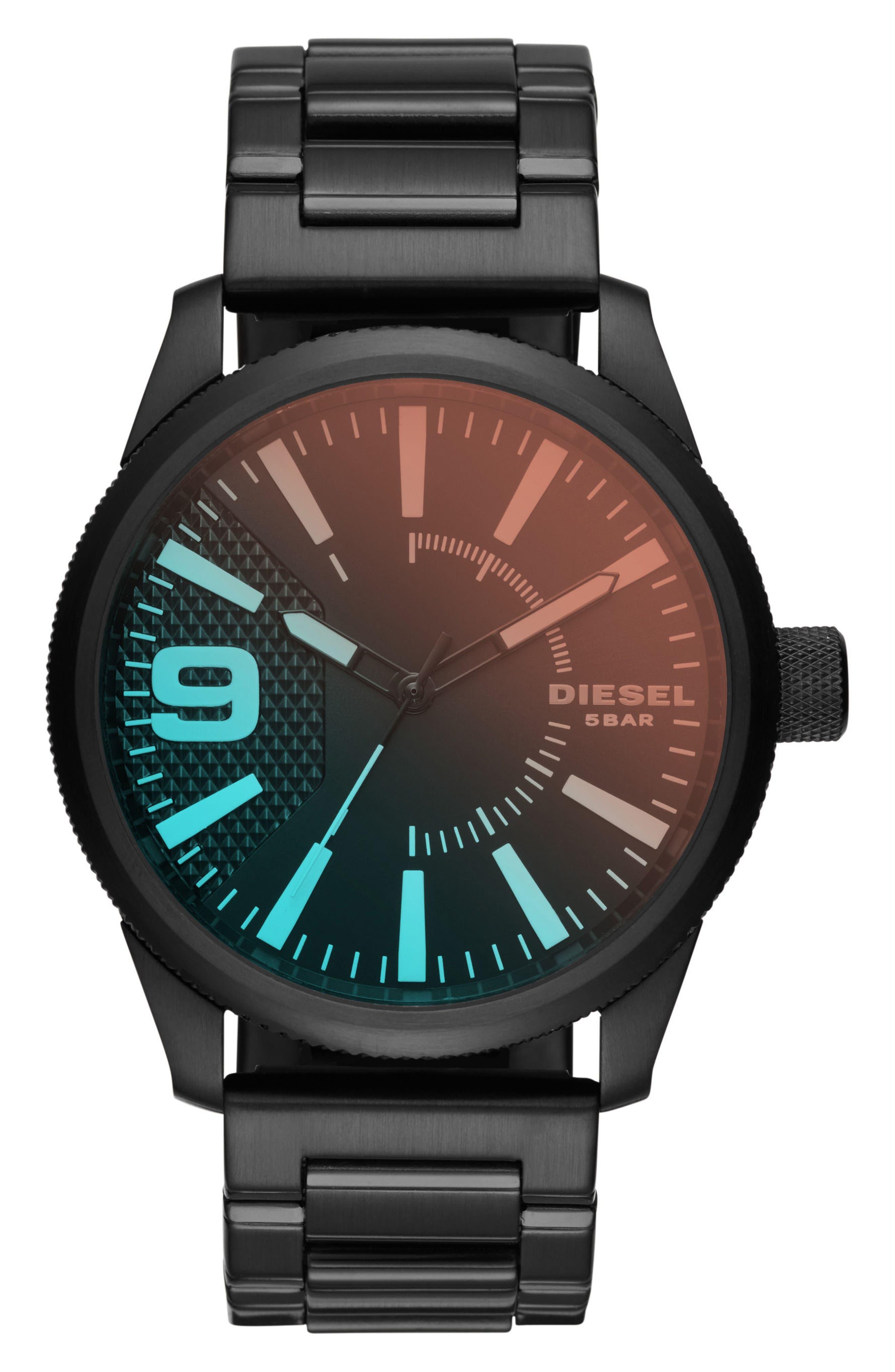 DIESEL® Rasp Bracelet Strap Watch, 46mm x 53mm