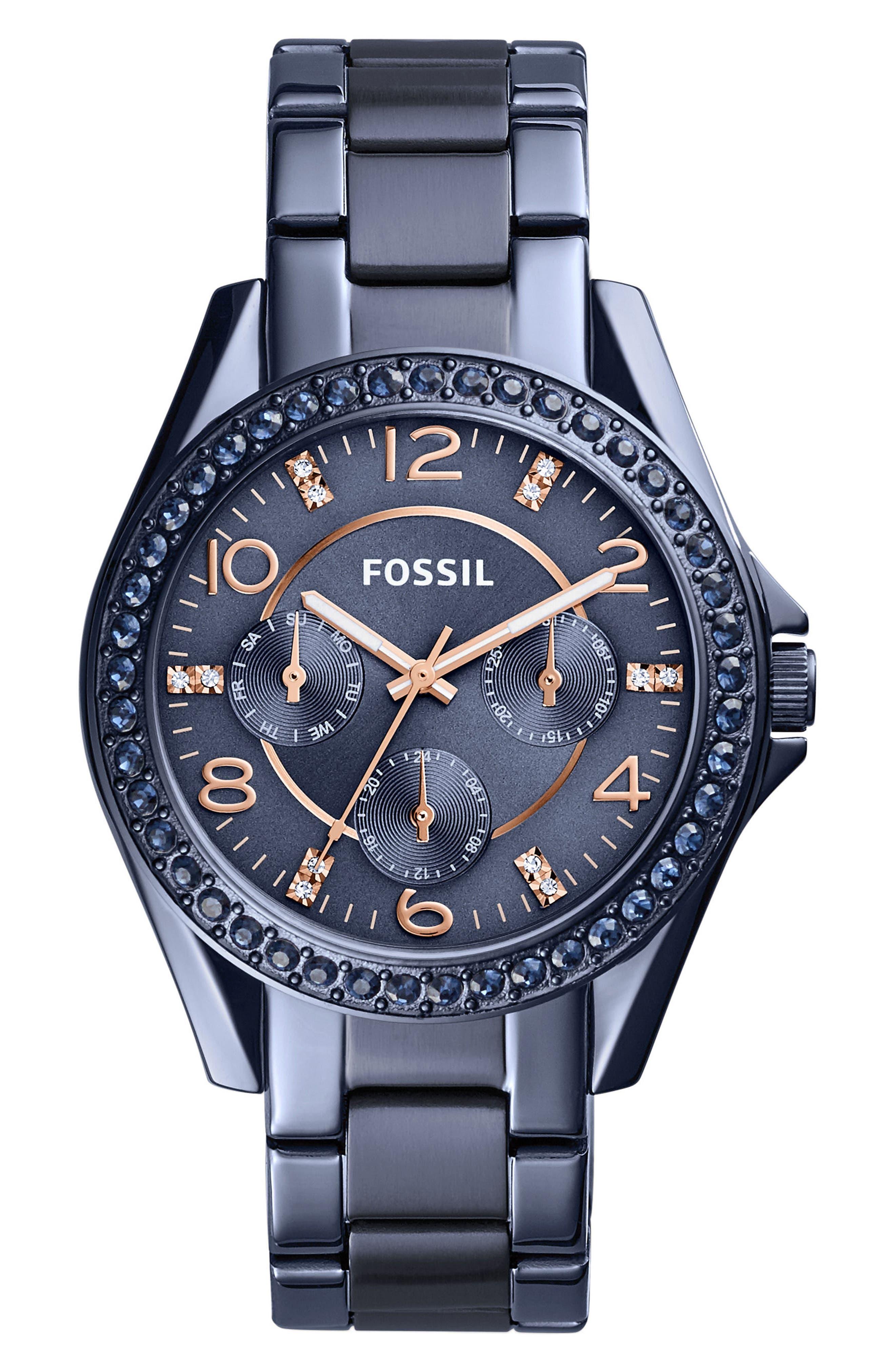 Main Image - Fossil Riley Crystal Bezel Multifunction Bracelet Watch, 38mm