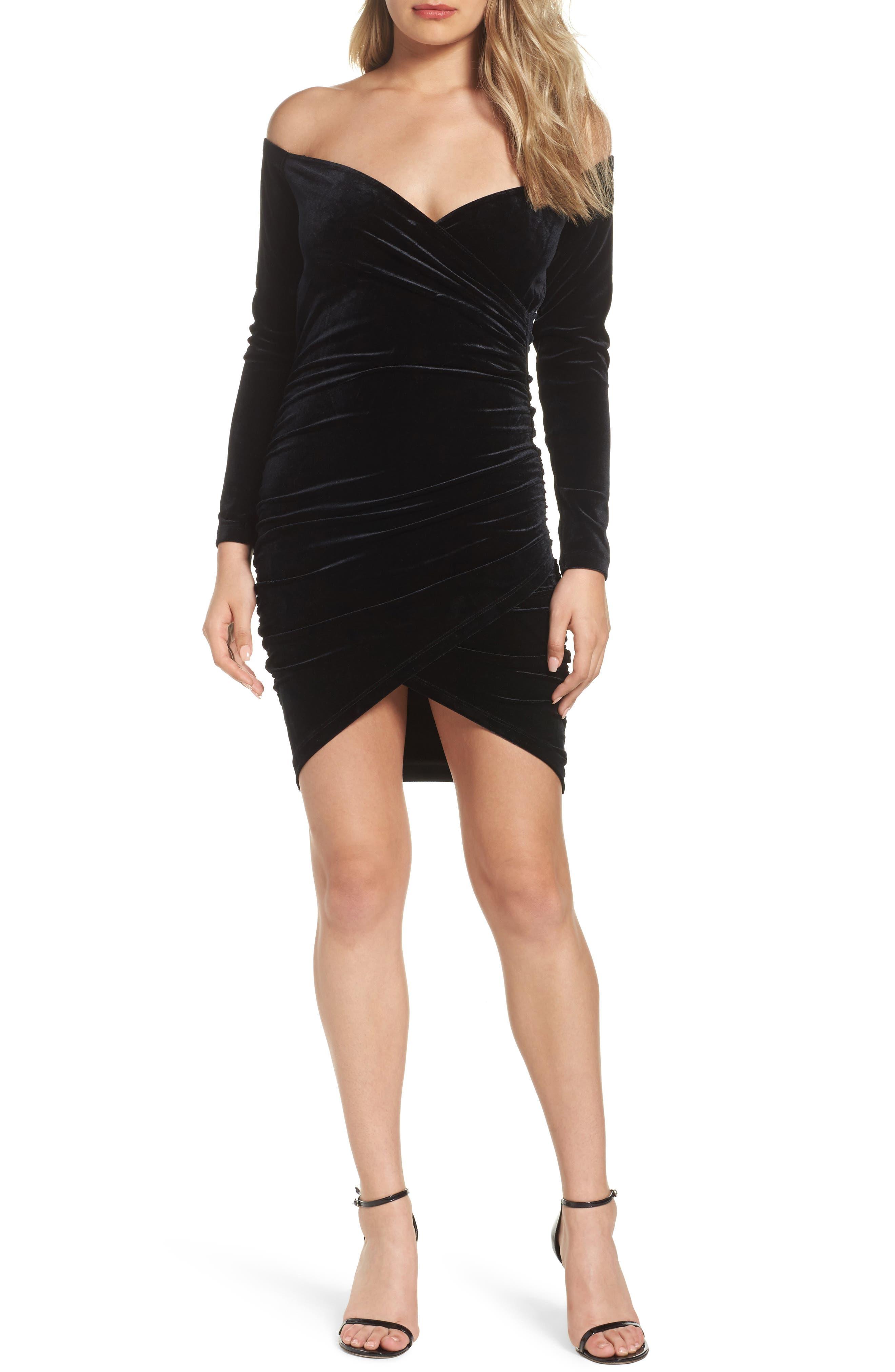 Alex Off the Shoulder Velvet Body-Con Dress,                         Main,                         color, Black