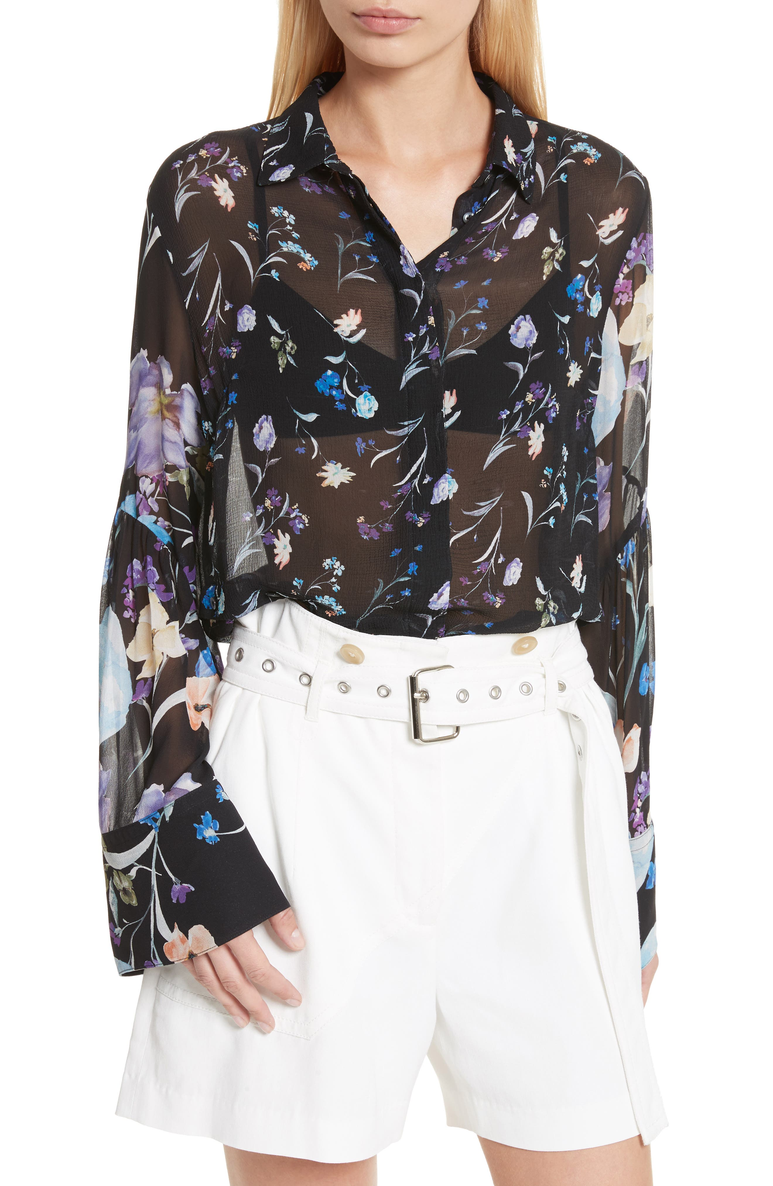 Bell Sleeve Silk Blouse,                         Main,                         color, Black