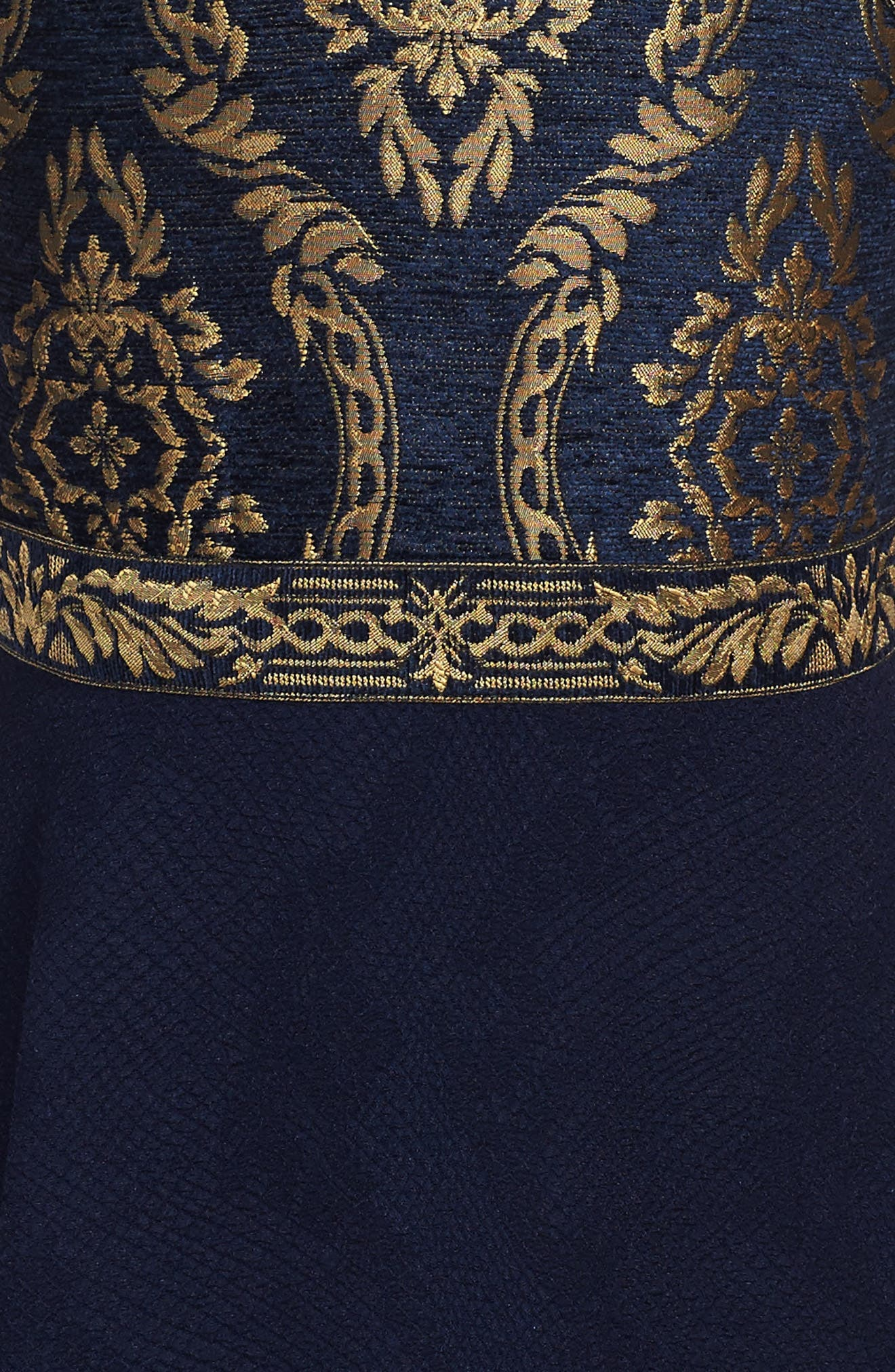 Brocade Embroidery Party Dress,                             Alternate thumbnail 3, color,                             Navy/ Gold
