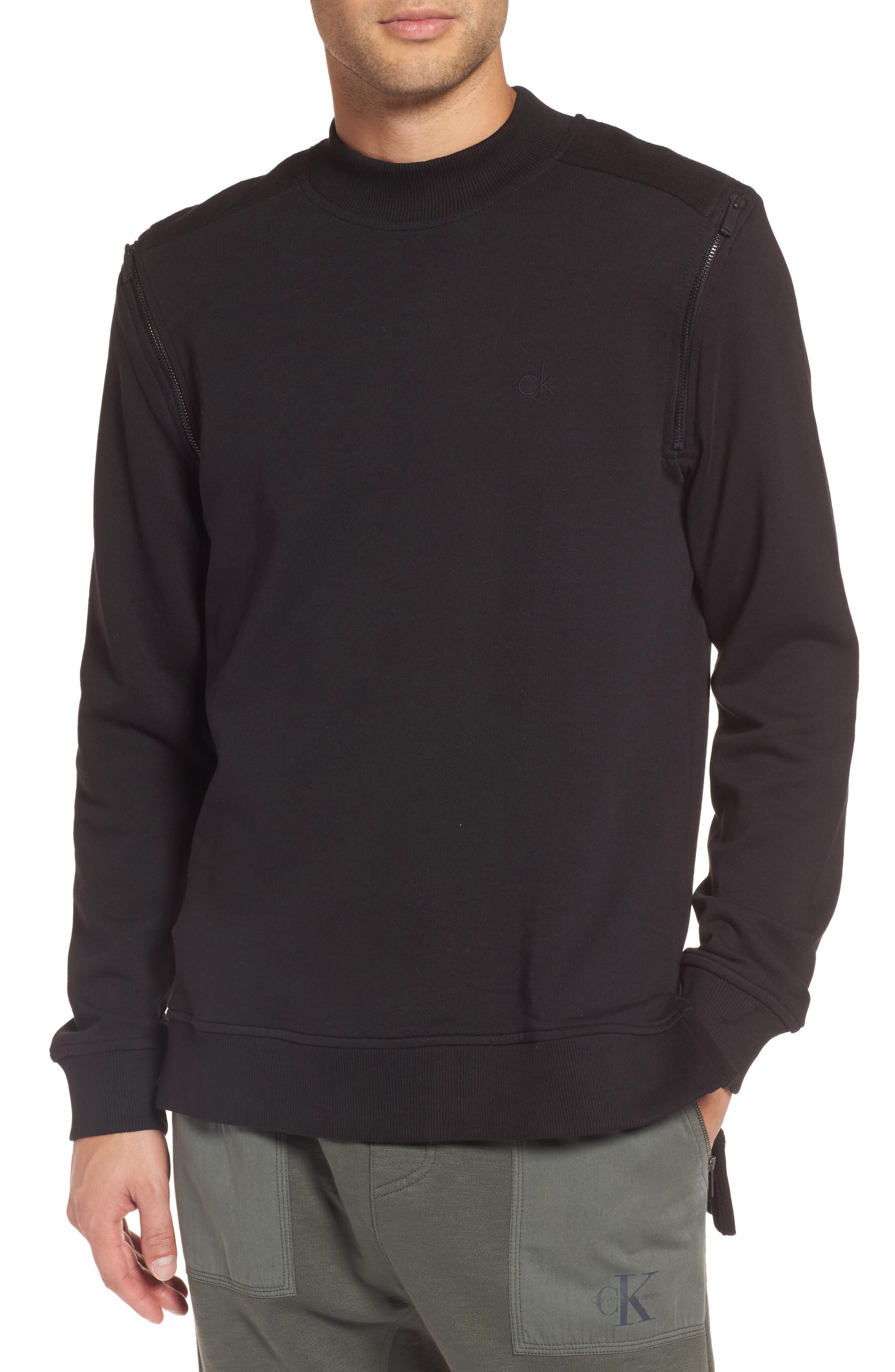 Zip Shoulder Sweatshirt,                         Main,                         color, Black