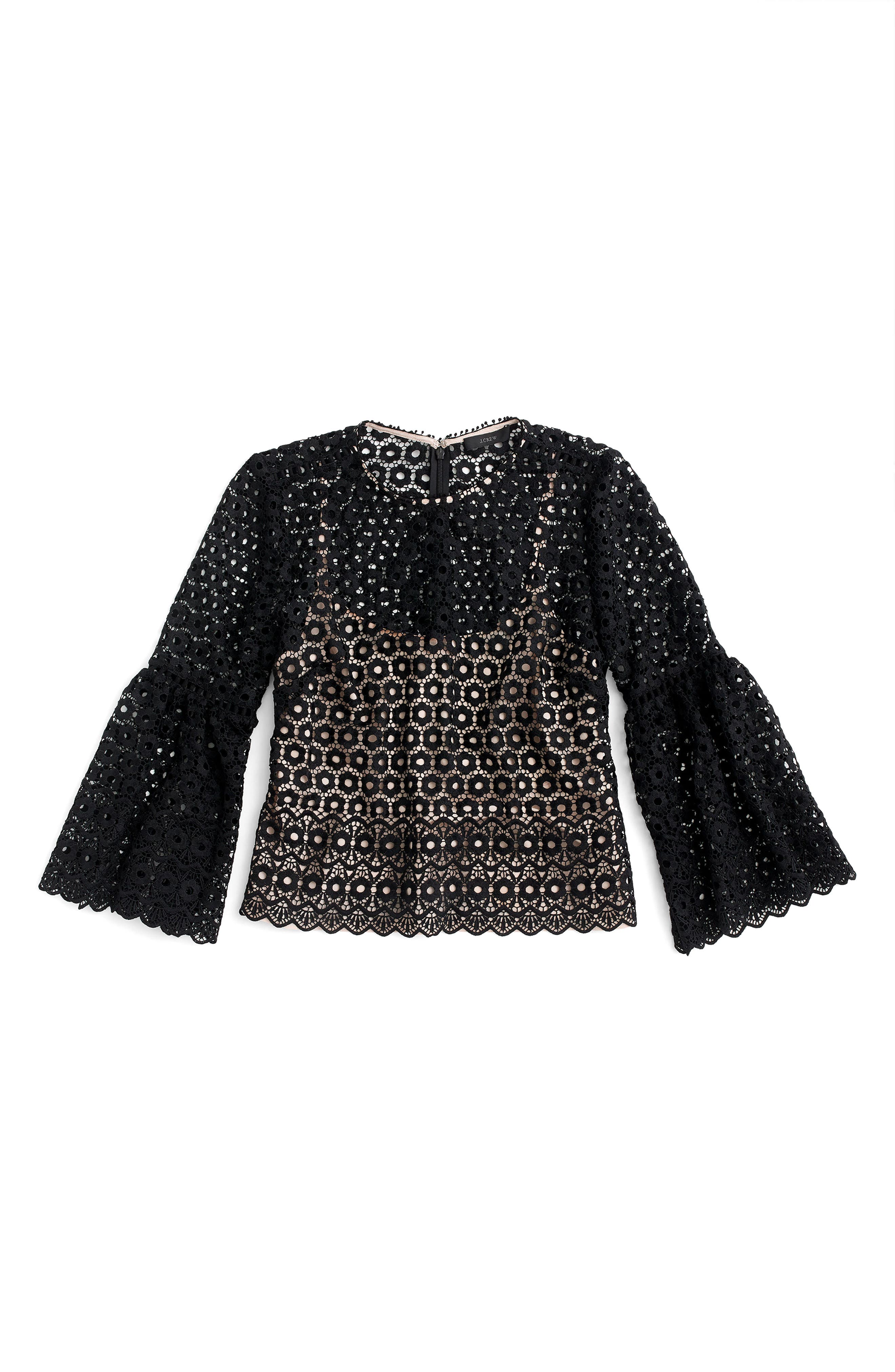 Alternate Image 3  - J.Crew Bell Sleeve Daisy Lace Top