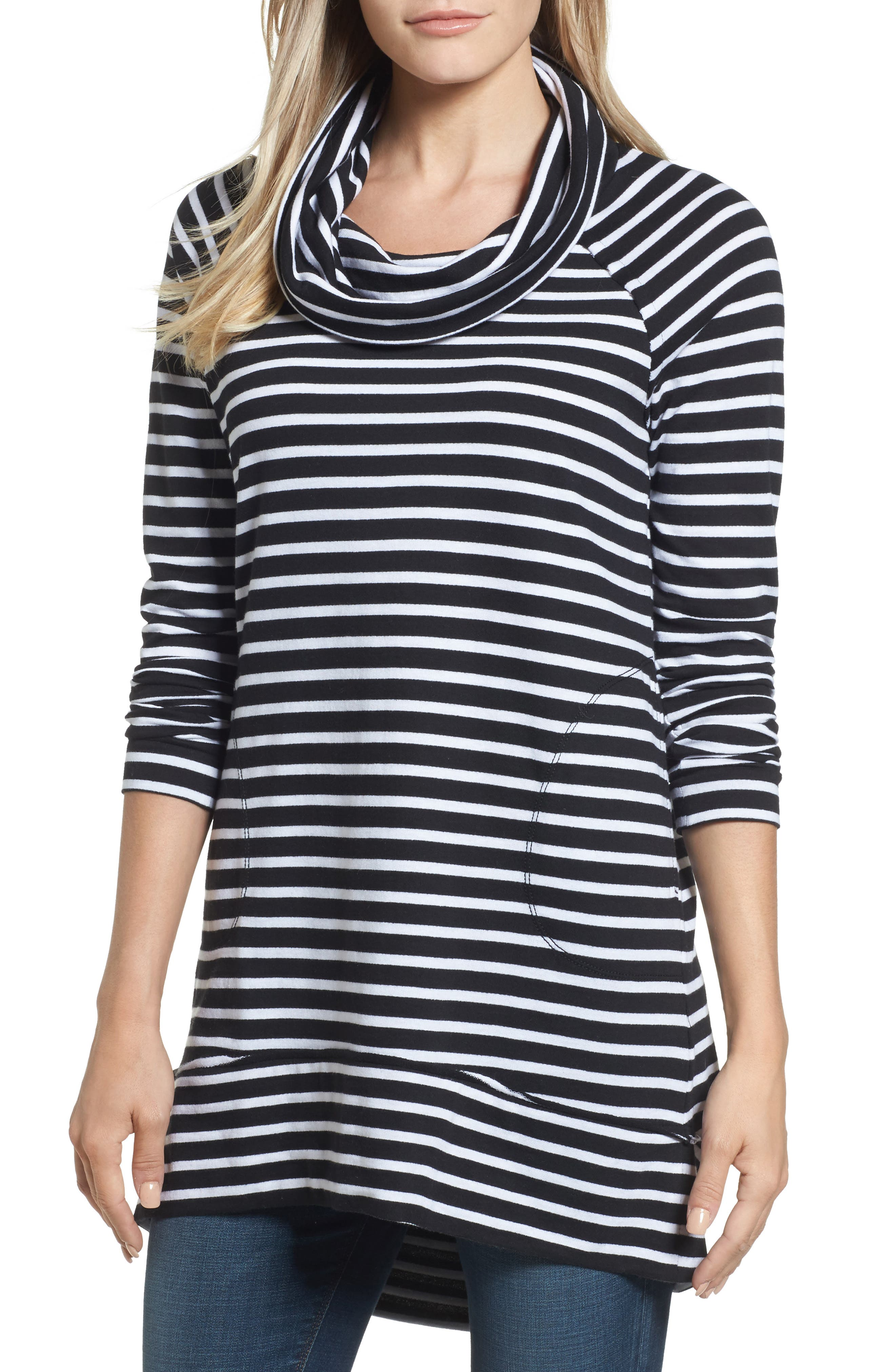 Caslon® Cowl Neck Tunic Sweatshirt (Regular & Petite)