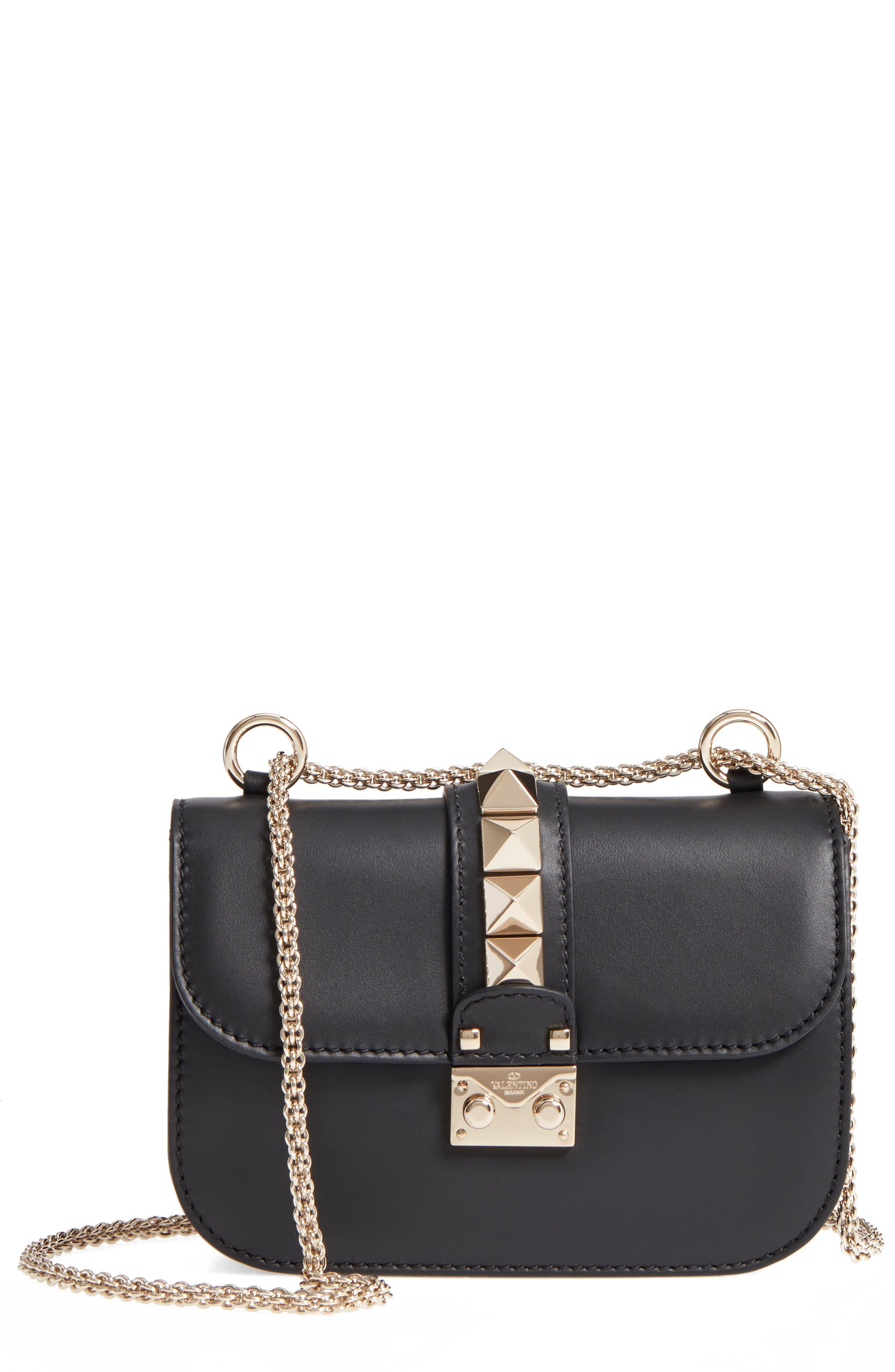 Small Lock Leather Crossbody Bag,                             Main thumbnail 1, color,                             Nero