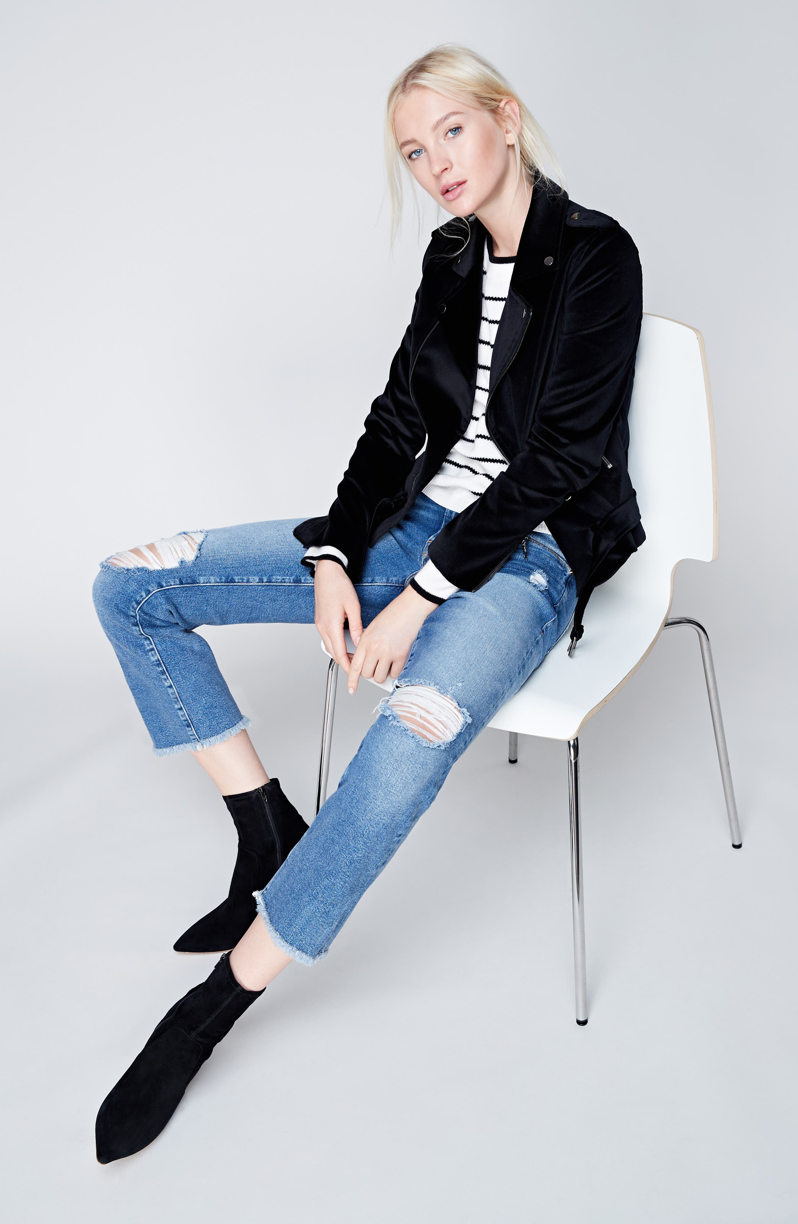 Stripe Cashmere Sweater,                             Alternate thumbnail 2, color,                             Ivory- Black Stripe