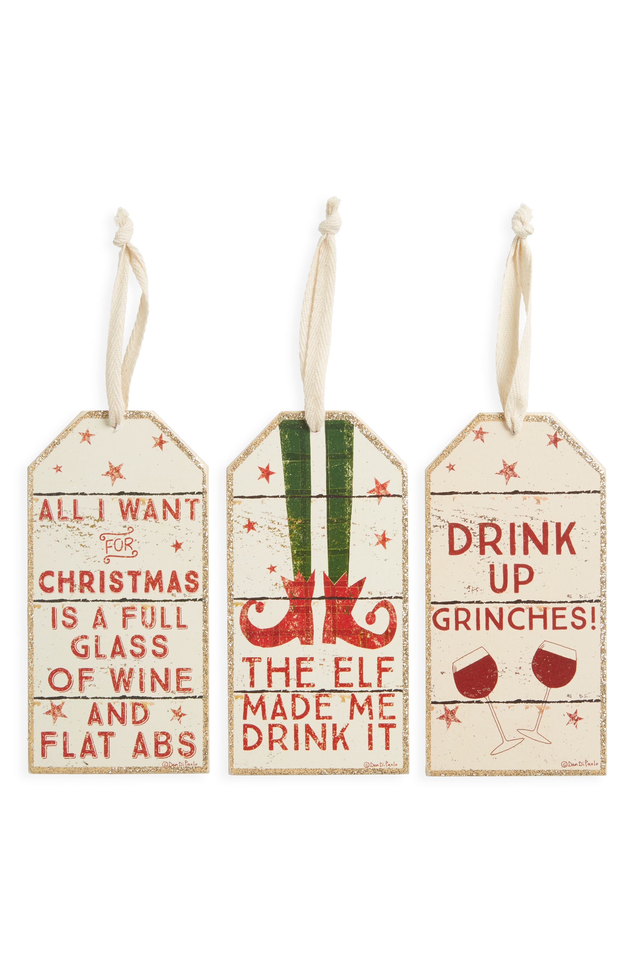 Set of 3 Wine Bottle Tags,                         Main,                         color, Red