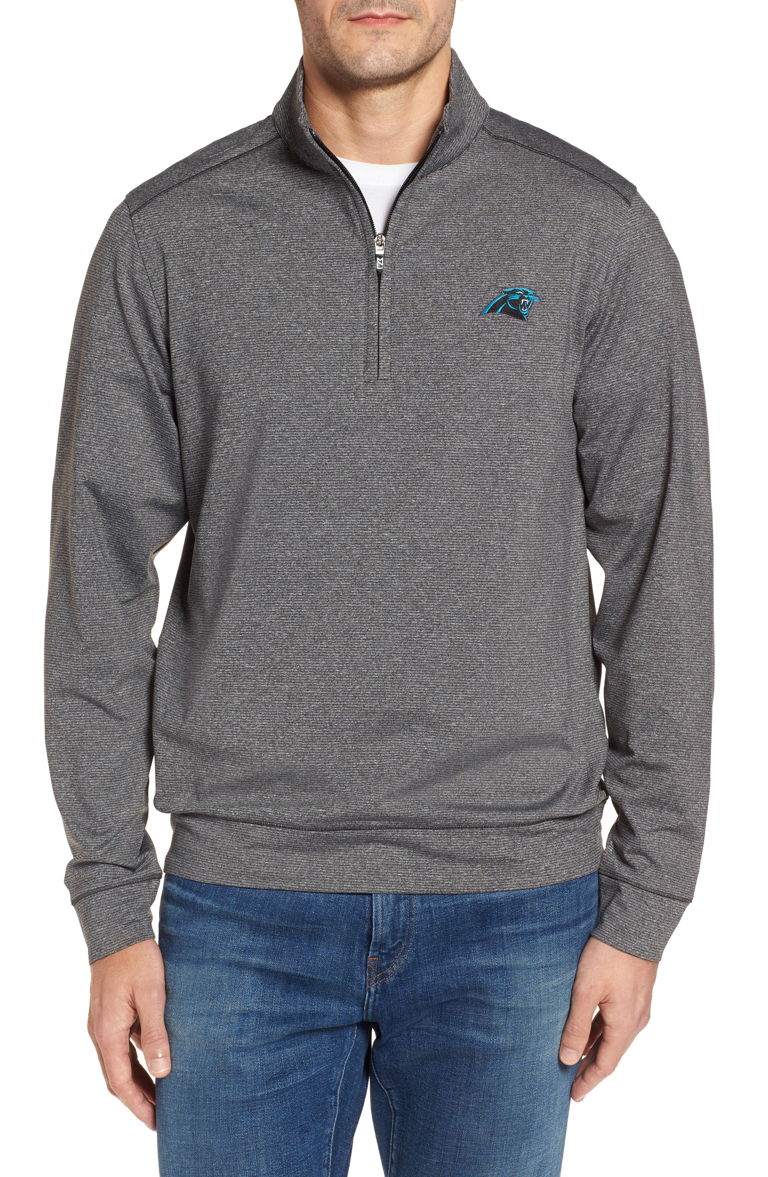 Shoreline - Carolina Panthers Half Zip Pullover,                         Main,                         color, Charcoal Heather
