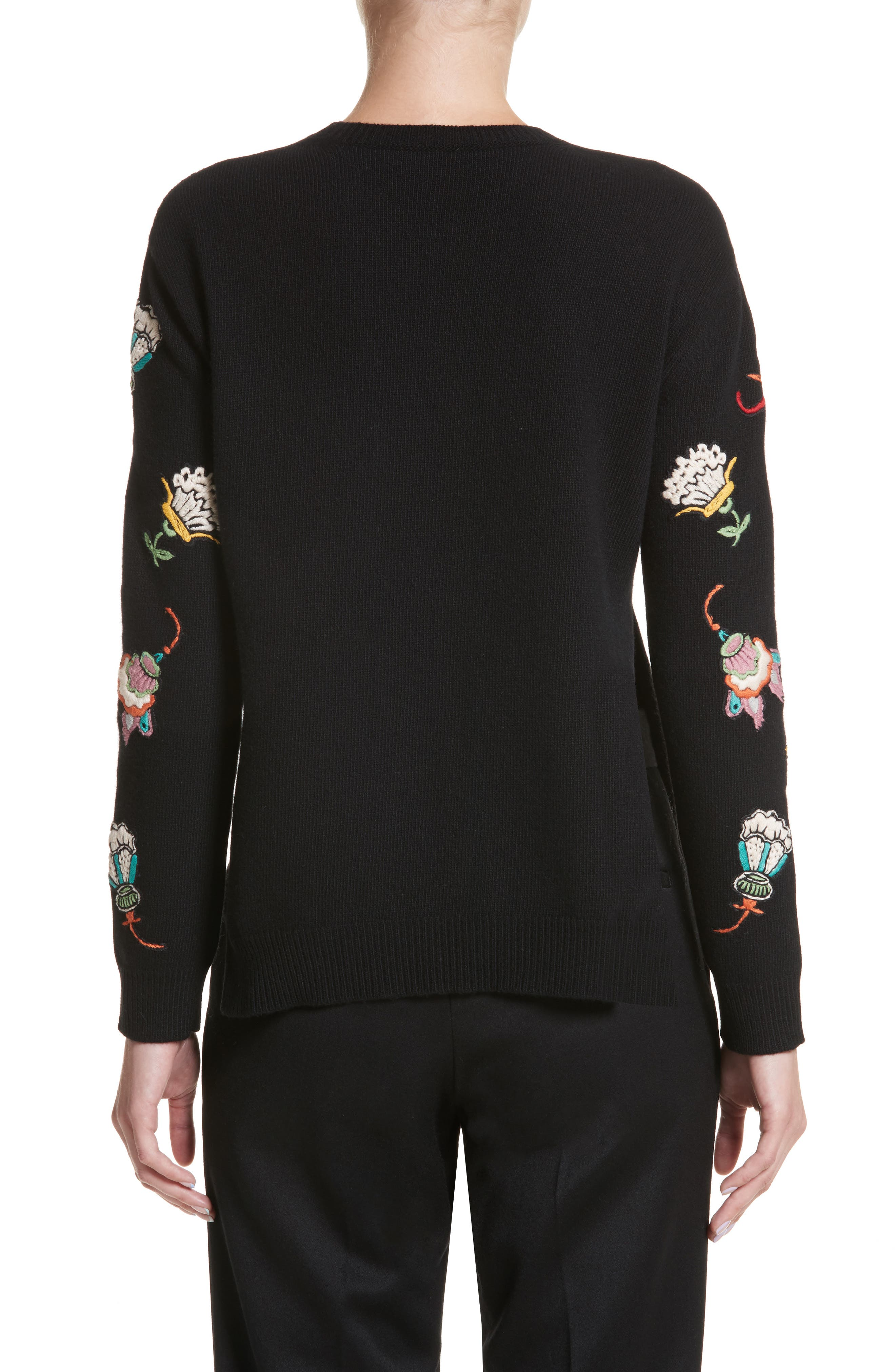 Floral Embroidered Wool Sweater,                             Alternate thumbnail 2, color,                             Black