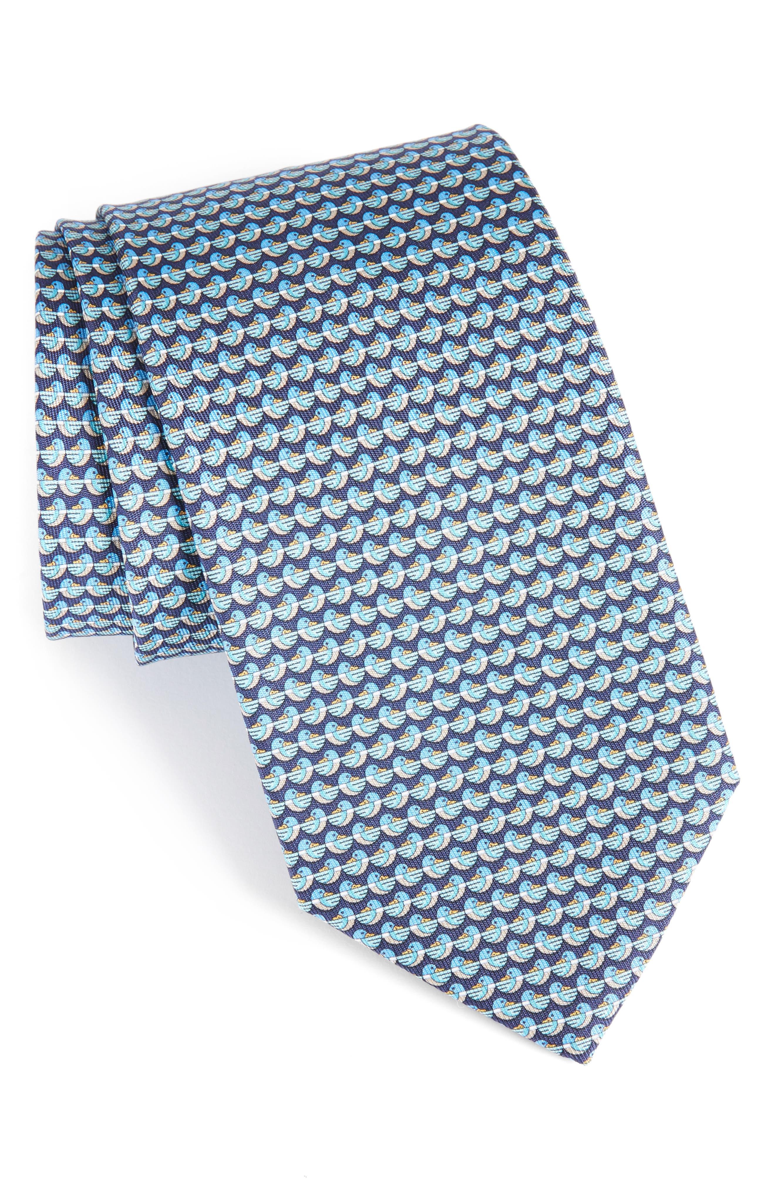 Duck Print Silk Tie,                             Main thumbnail 1, color,                             Marine Blue