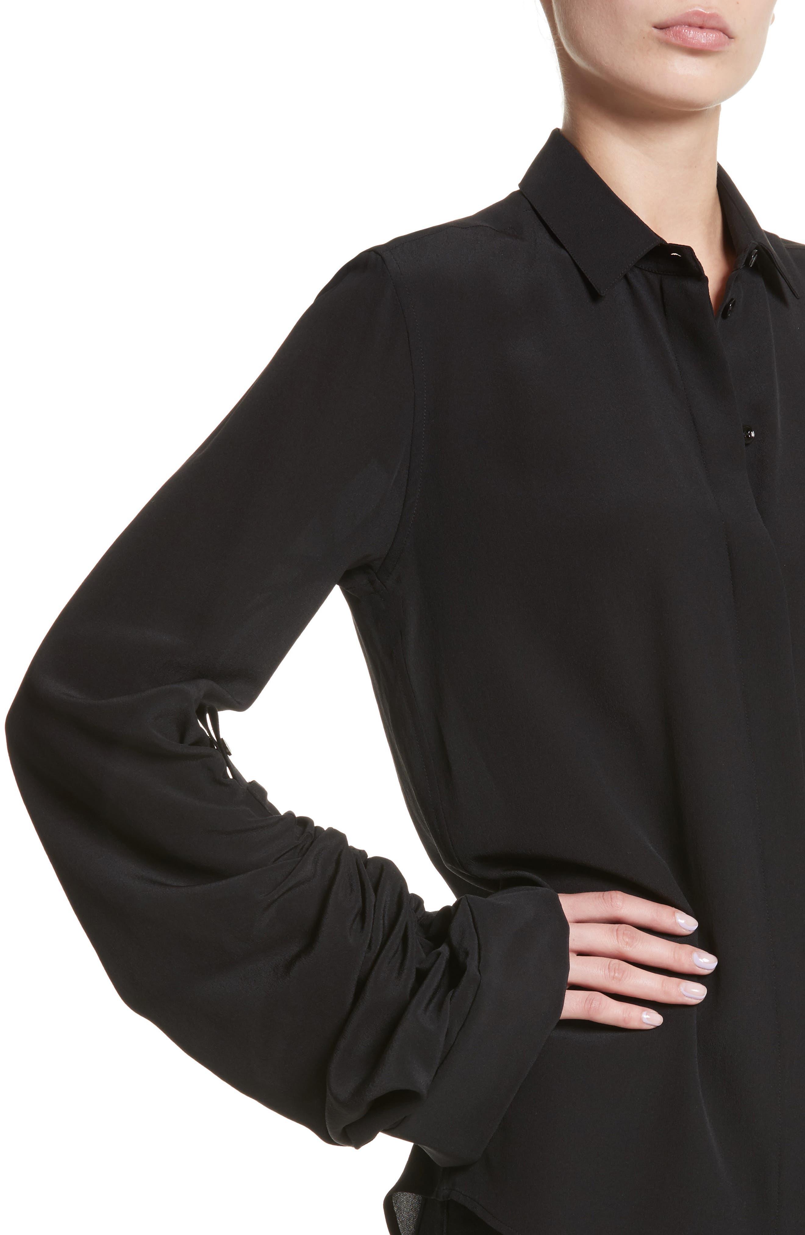 Exaggerated Sleeve Silk Blouse,                             Alternate thumbnail 4, color,                             Noir