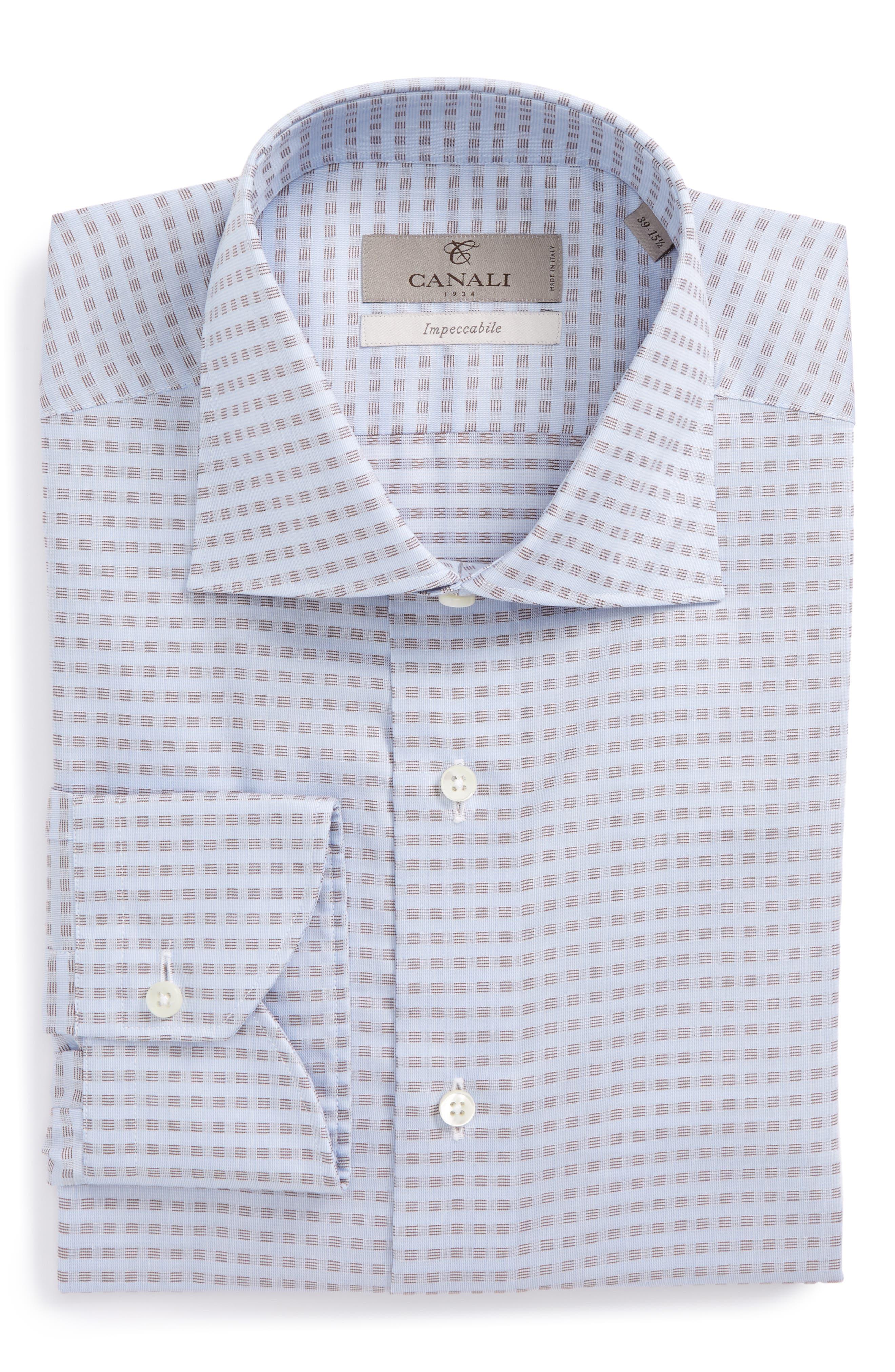 Regular Fit Check Dress Shirt,                         Main,                         color, Light Brown/ Blue