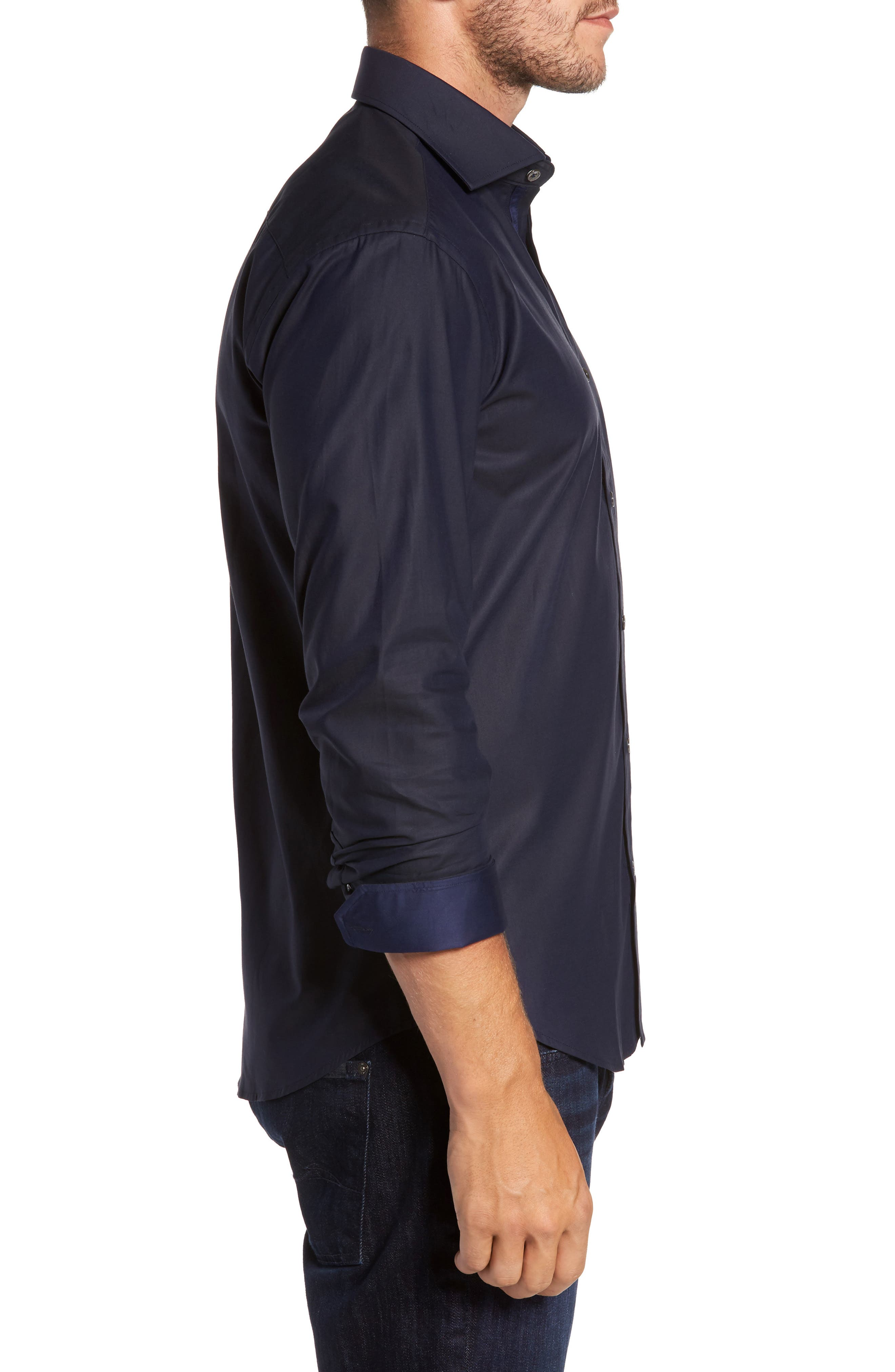 Trim Fit Solid Sport Shirt,                             Alternate thumbnail 3, color,                             Midnight