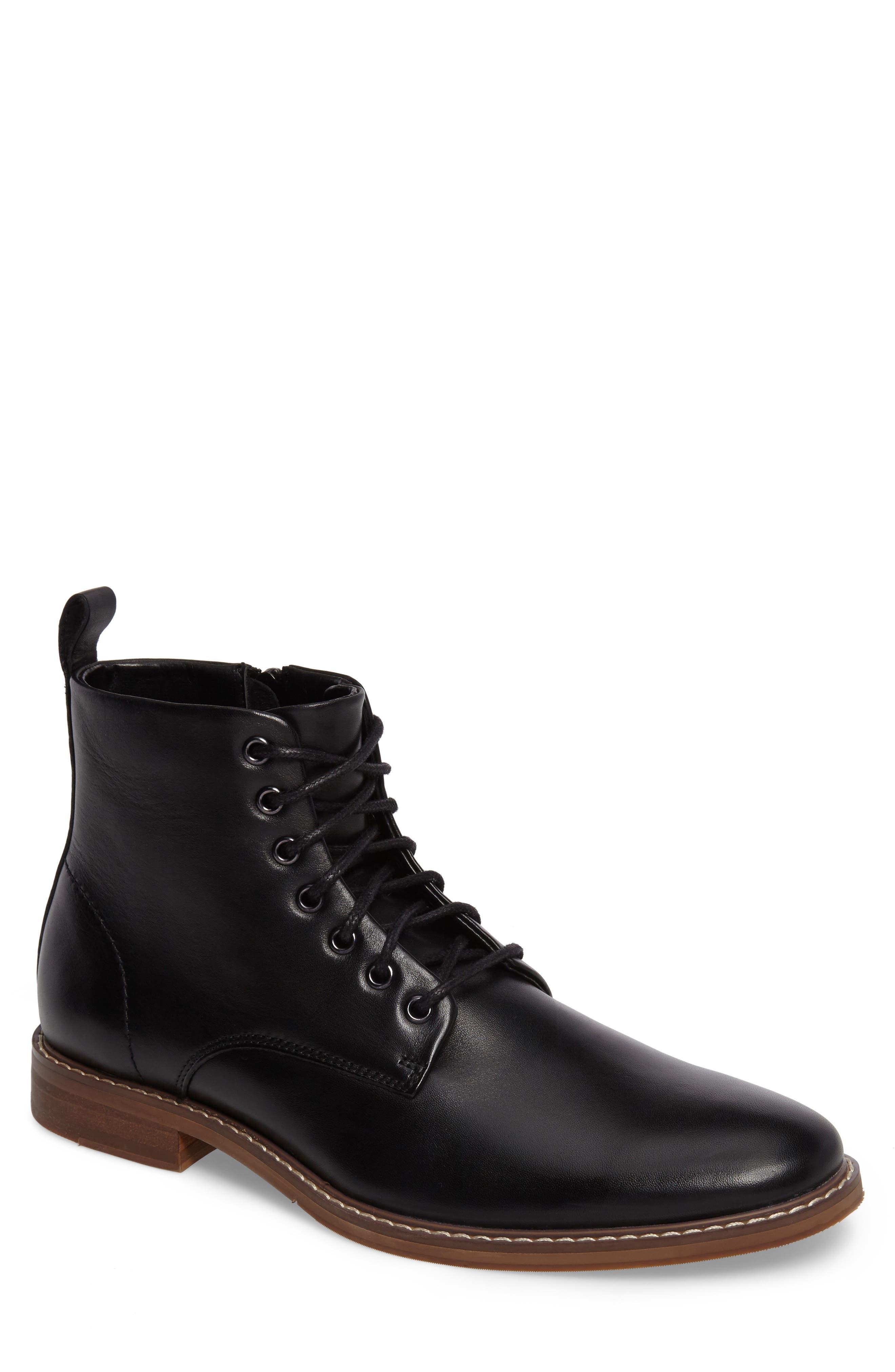 Albany Plain Toe Boot,                             Main thumbnail 1, color,                             Black Leather