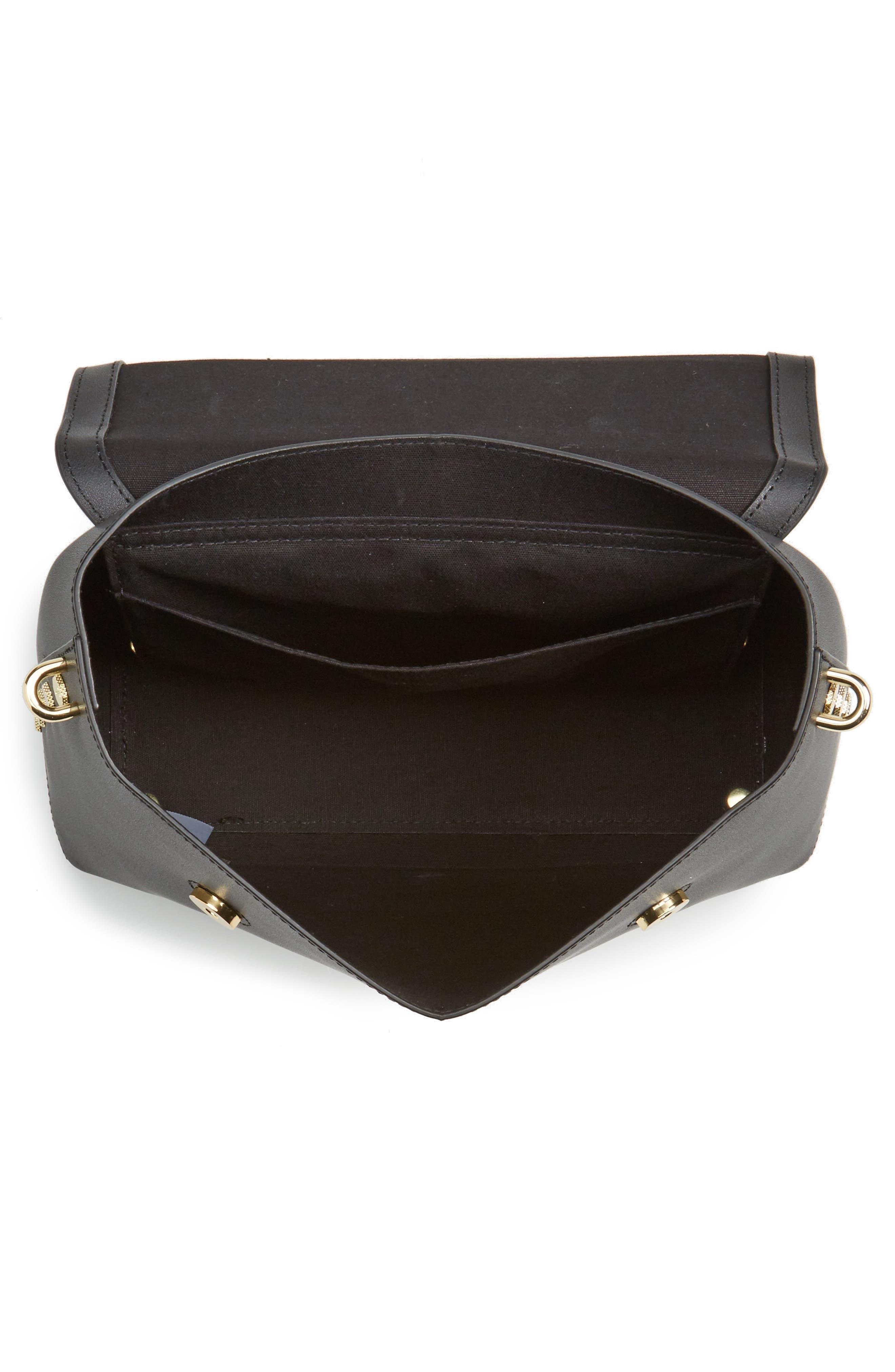 Taymar - Studded Edge Lady Bag Leather Top Handle Satchel,                             Alternate thumbnail 3, color,                             Black