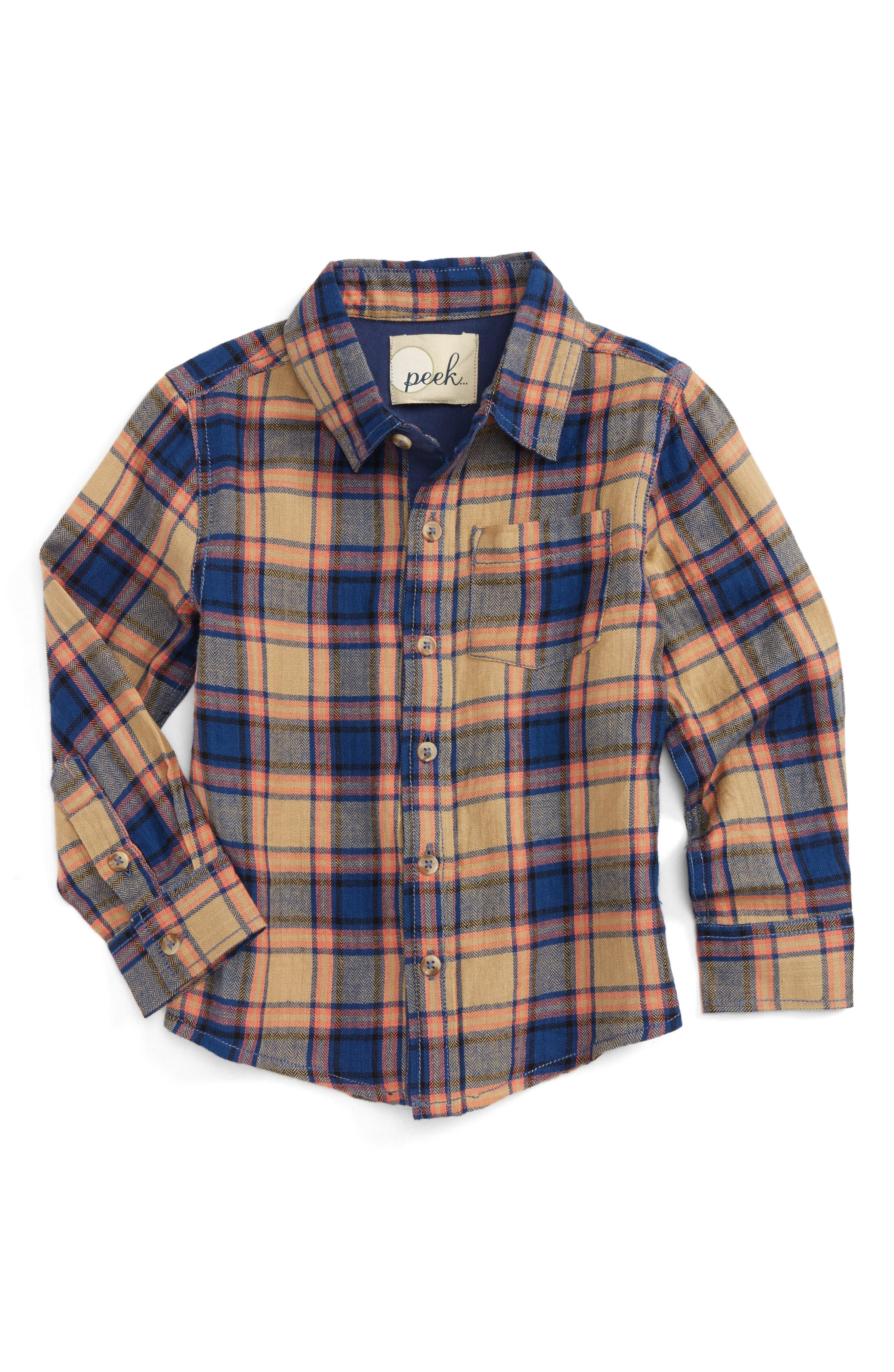 Main Image - Peek Henry Plaid Woven Shirt (Toddler Boys, Little Boys & Big Boys)