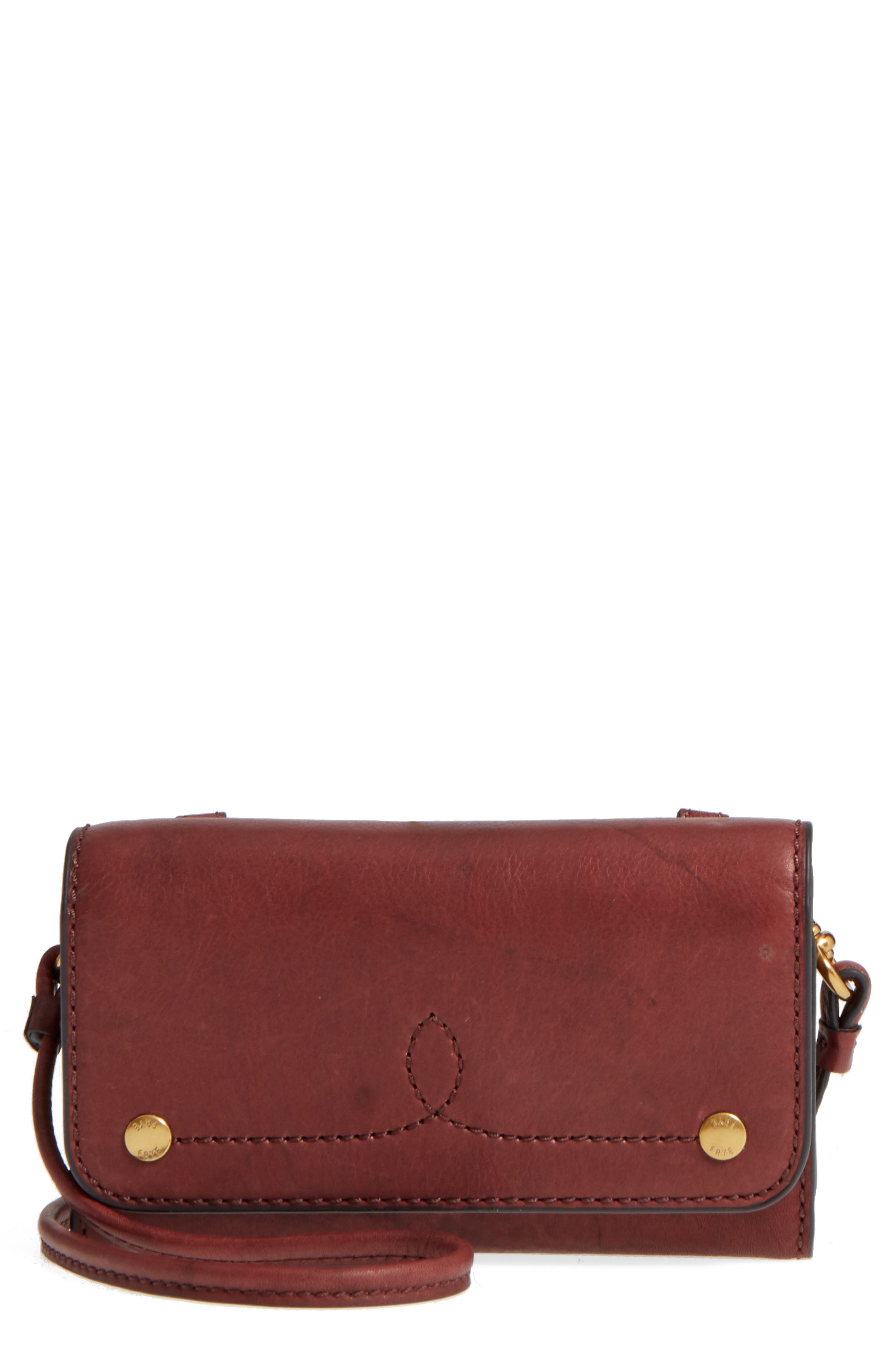Frye Campus Rivet Leather Smartphone Wallet with Crossbody Strap