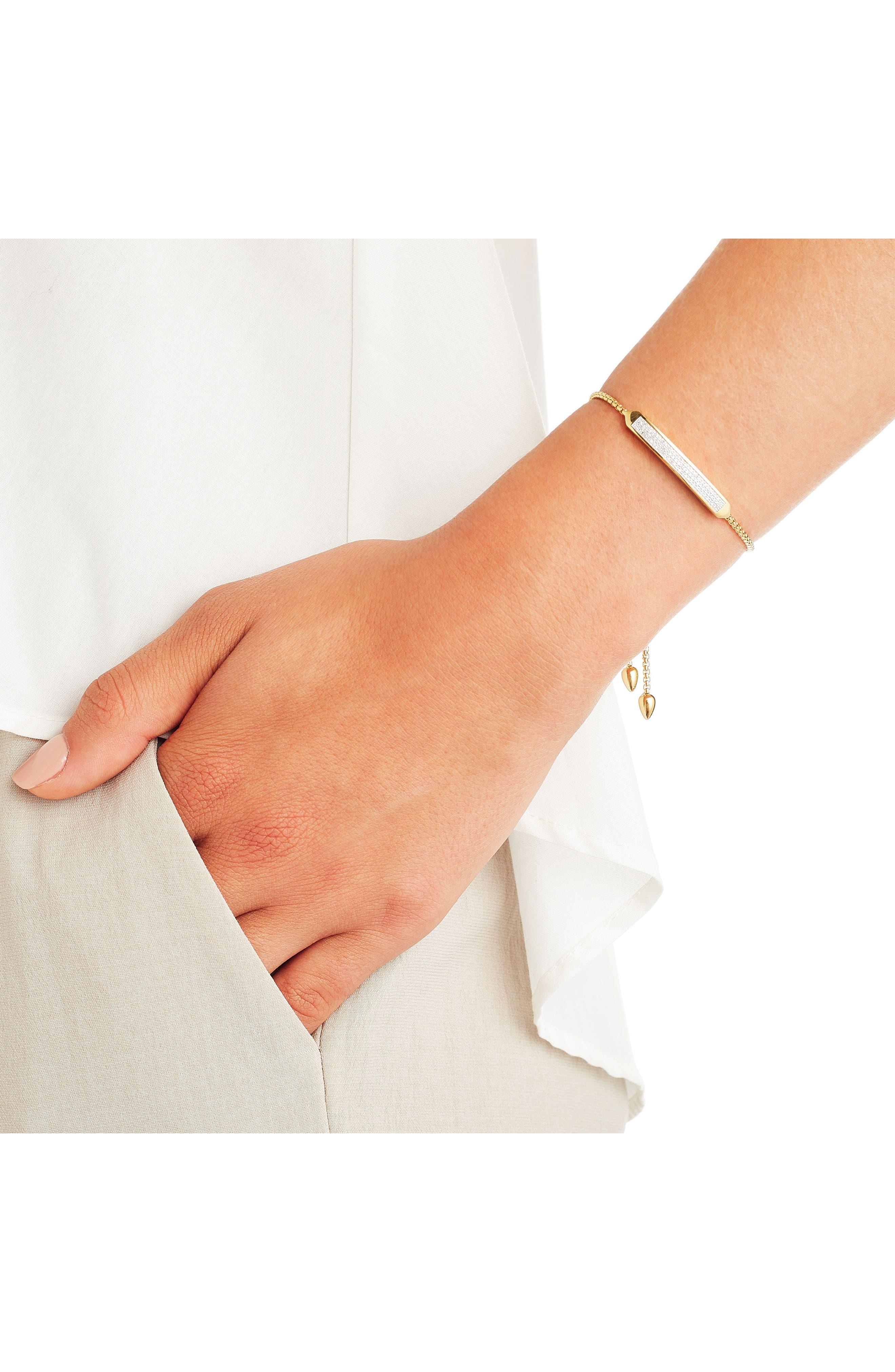 Baja Skinny Pavé Diamond Bracelet,                             Alternate thumbnail 3, color,                             Yellow Gold