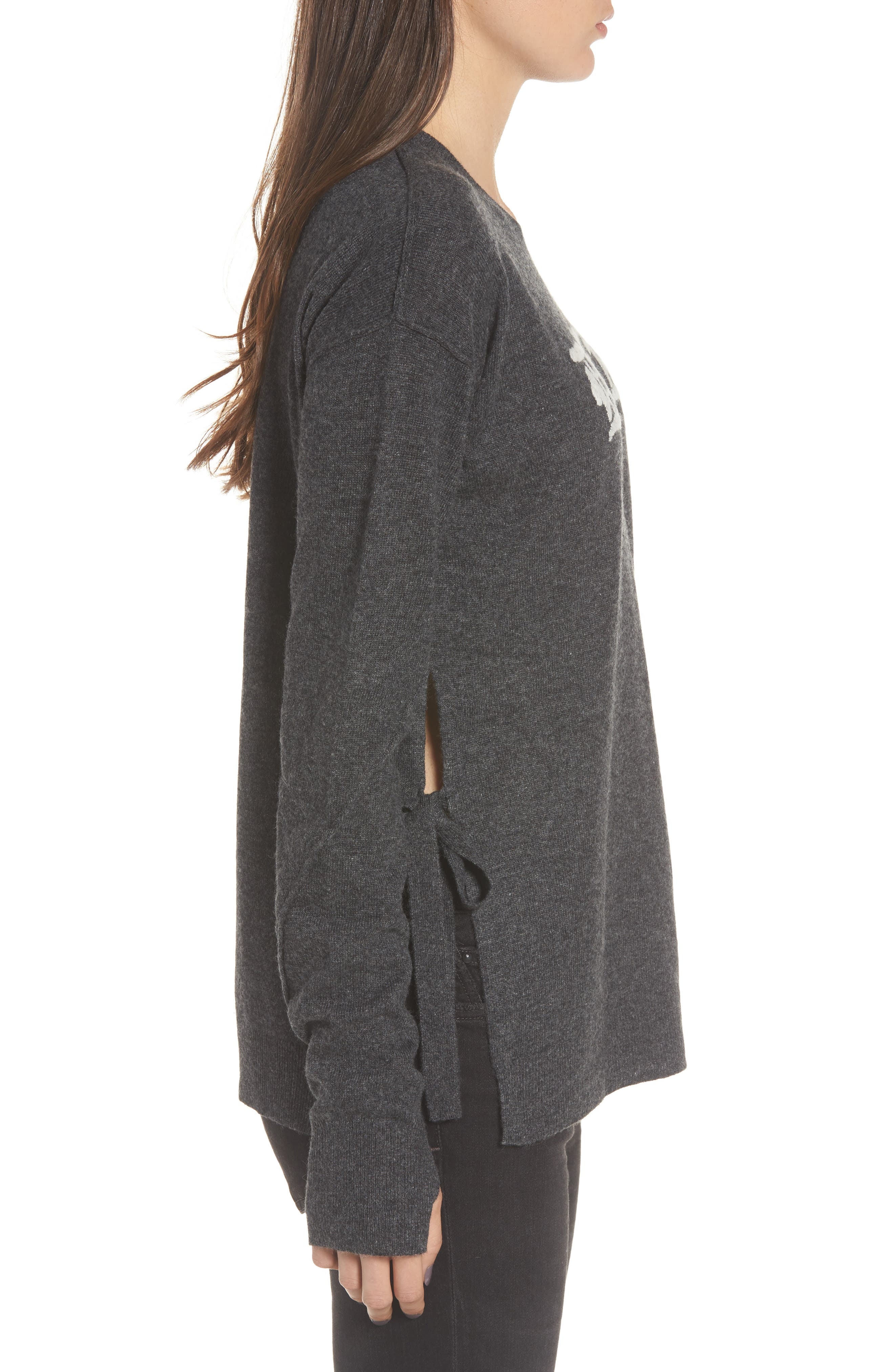 Dream Side Tie Sweater,                             Alternate thumbnail 3, color,                             Heather Grey