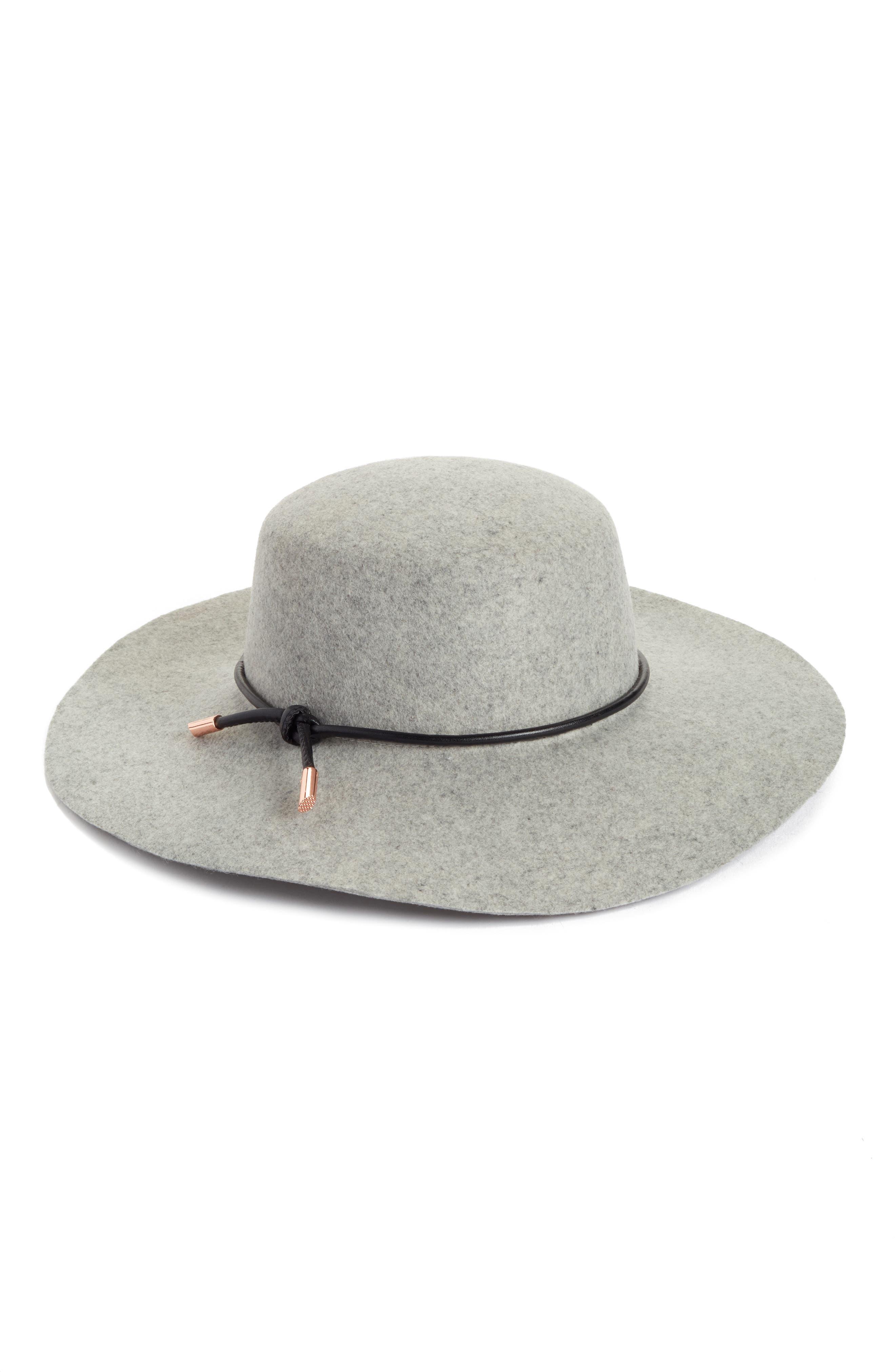 Rope Trim Wool Felt Hat,                         Main,                         color, Light Grey