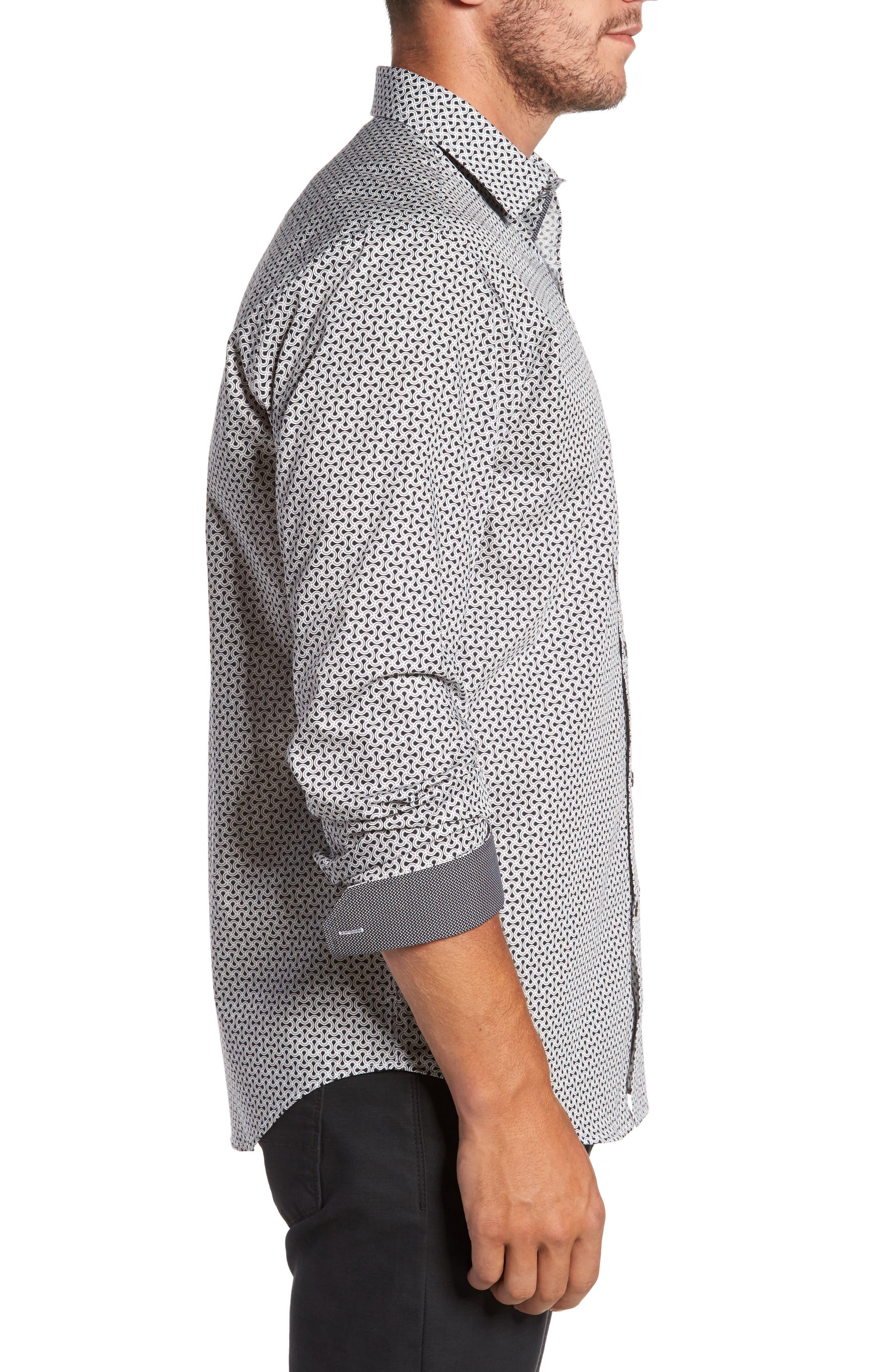 Classic Fit Print Sport Shirt,                             Alternate thumbnail 3, color,                             Black