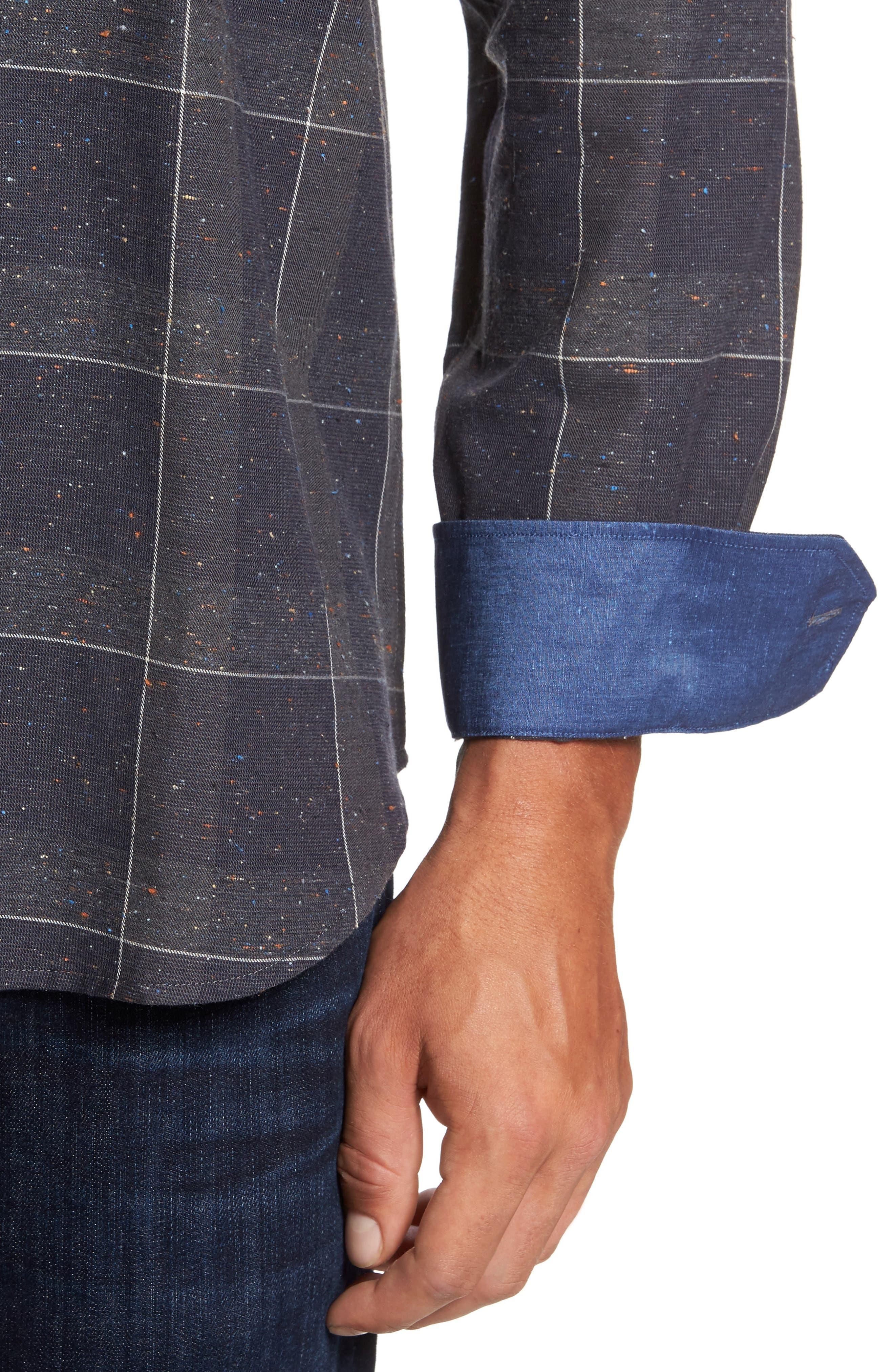 Alternate Image 4  - Bugatchi Classic Fit Slubbed Tattersall Sport Shirt