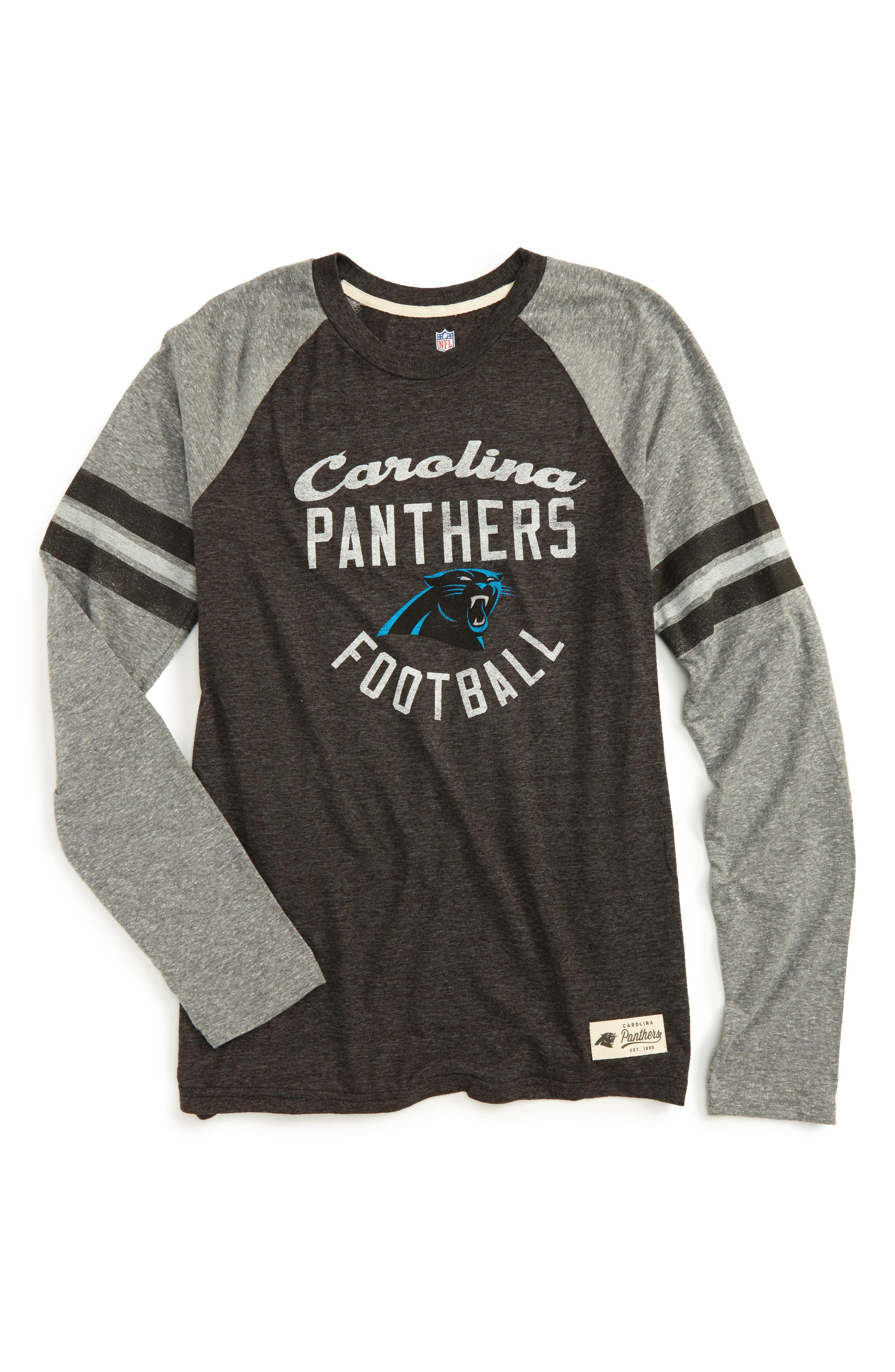 NFL Carolina Panthers Distressed Logo T-Shirt,                             Main thumbnail 1, color,                             Black