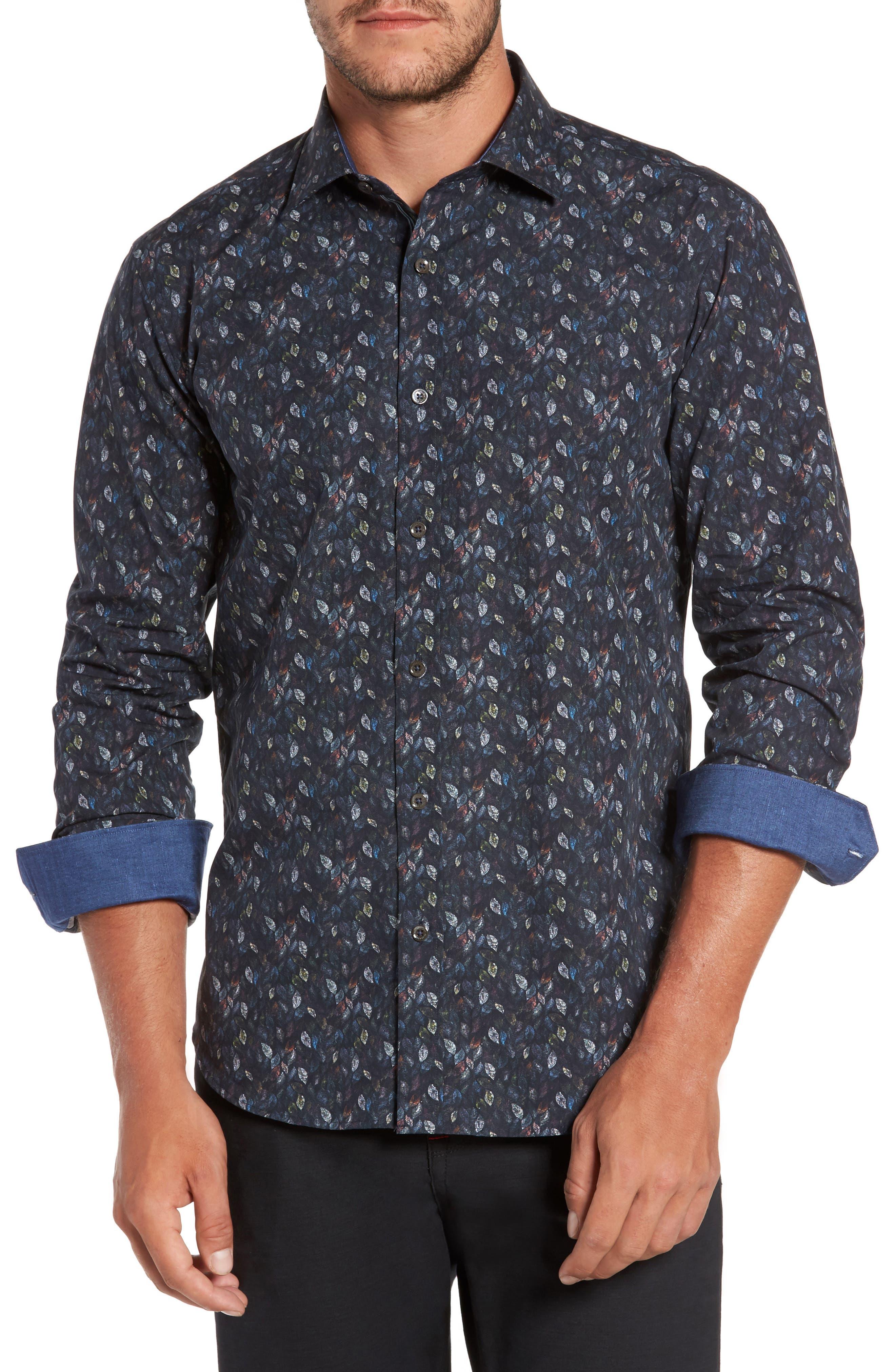 Trim Fit Leaf Print Sport Shirt,                         Main,                         color, Midnight