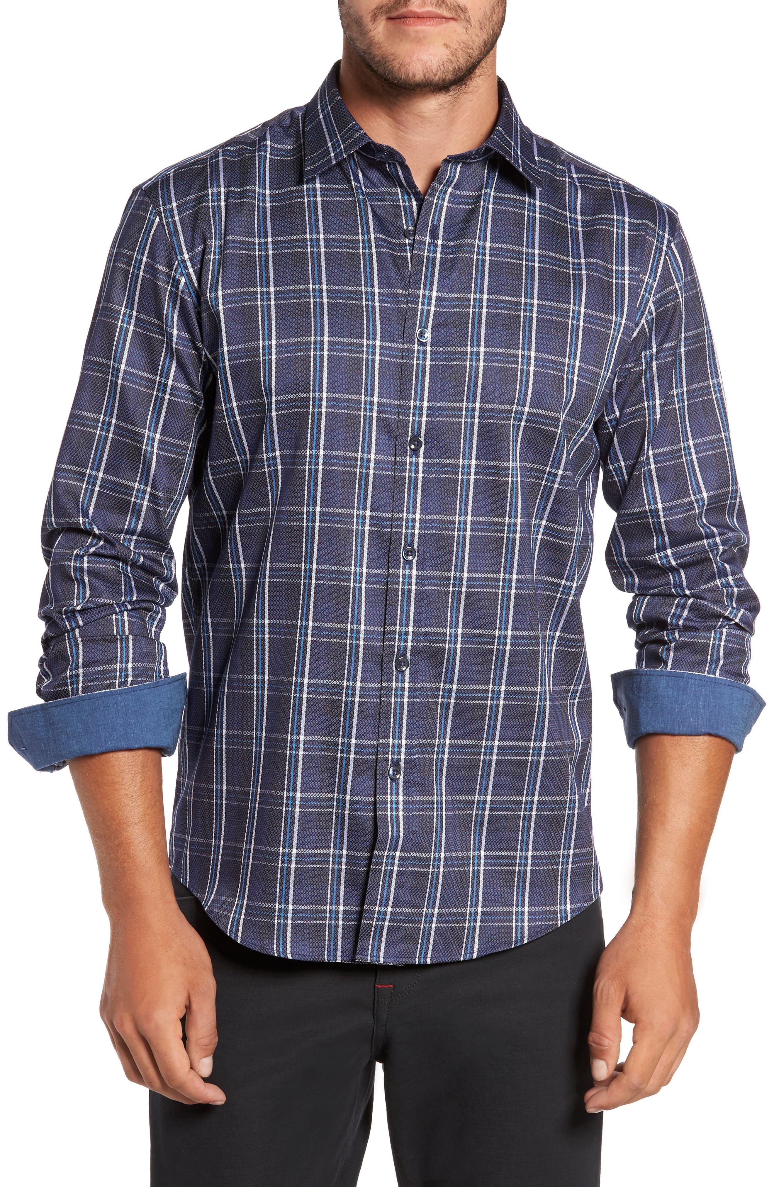 Alternate Image 1 Selected - Bugatchi Trim Fit Diamond Weave Windowpane Sport Shirt