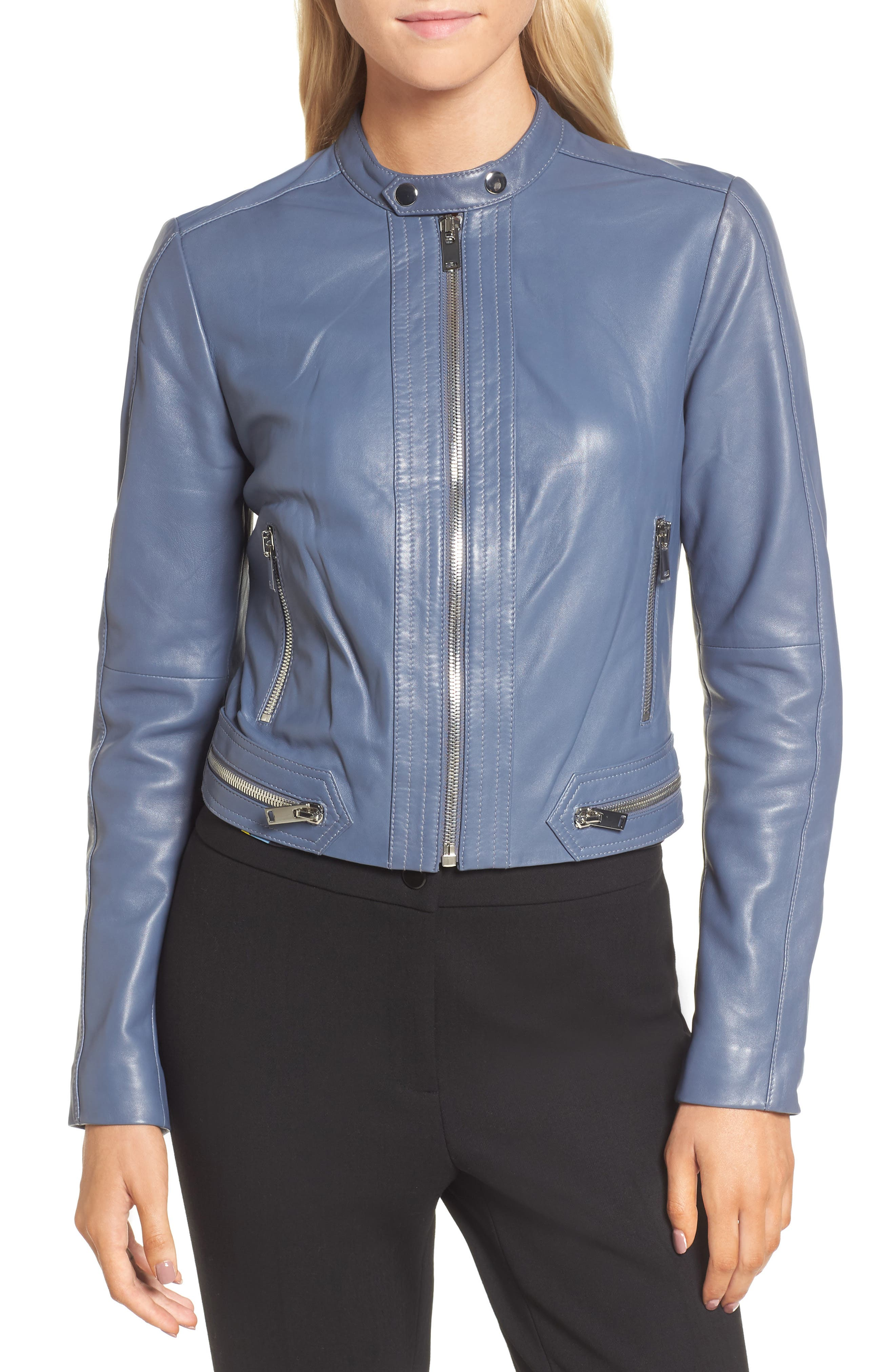 Leather Jacket,                             Alternate thumbnail 4, color,                             Grey Grisaille