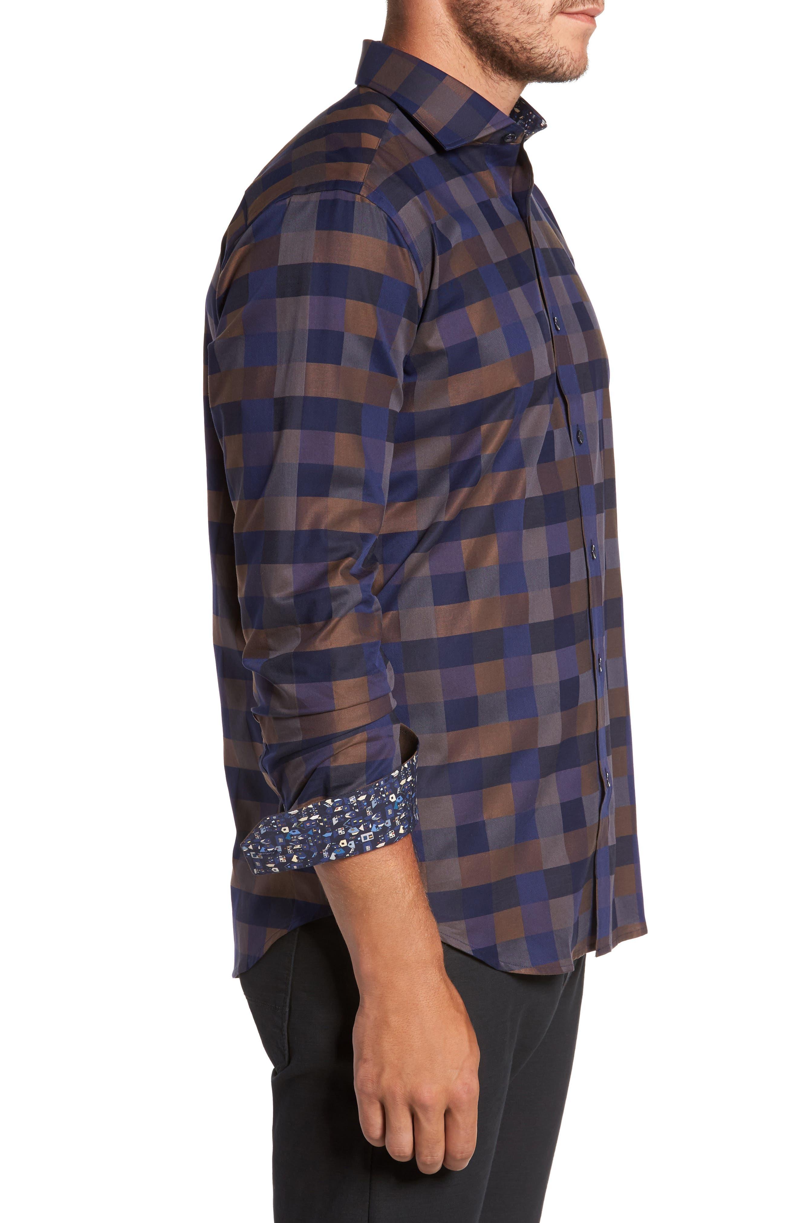 Alternate Image 3  - Bugatchi Trim Fit Box Check Sport Shirt