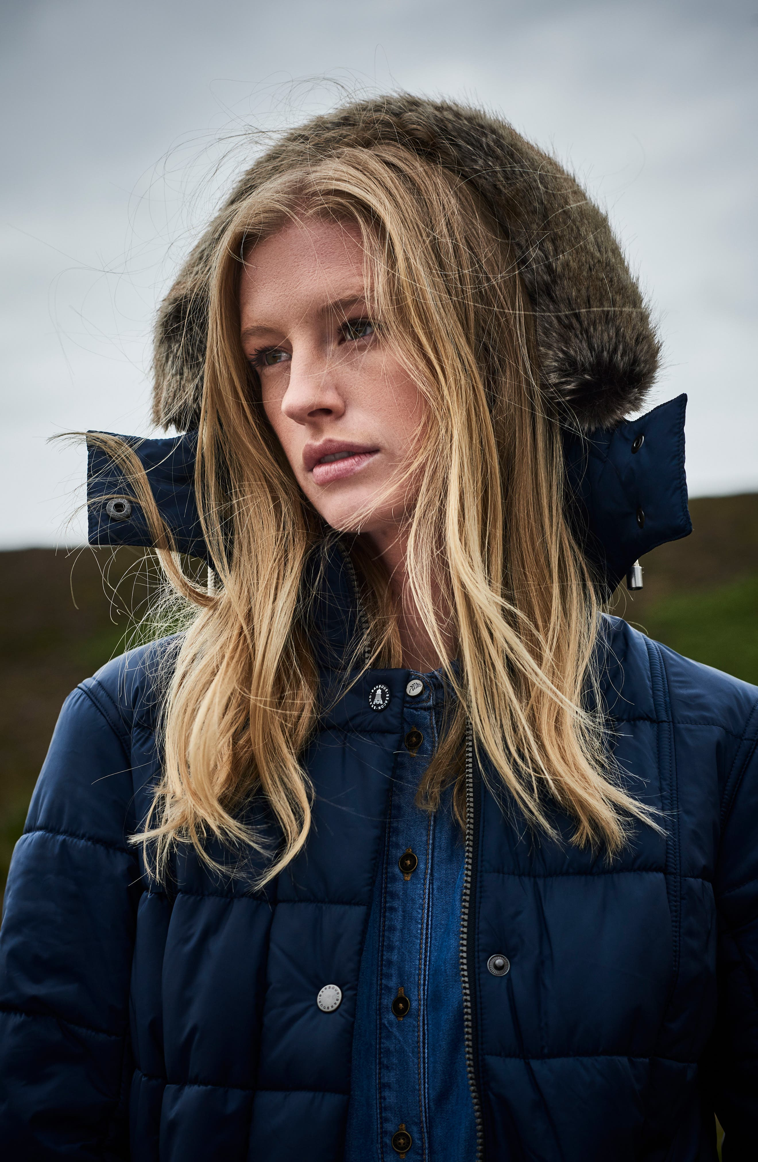 Winterton Water Resistant Hooded Quilted Jacket with Faux Fur Trim,                             Alternate thumbnail 8, color,                             French Navy