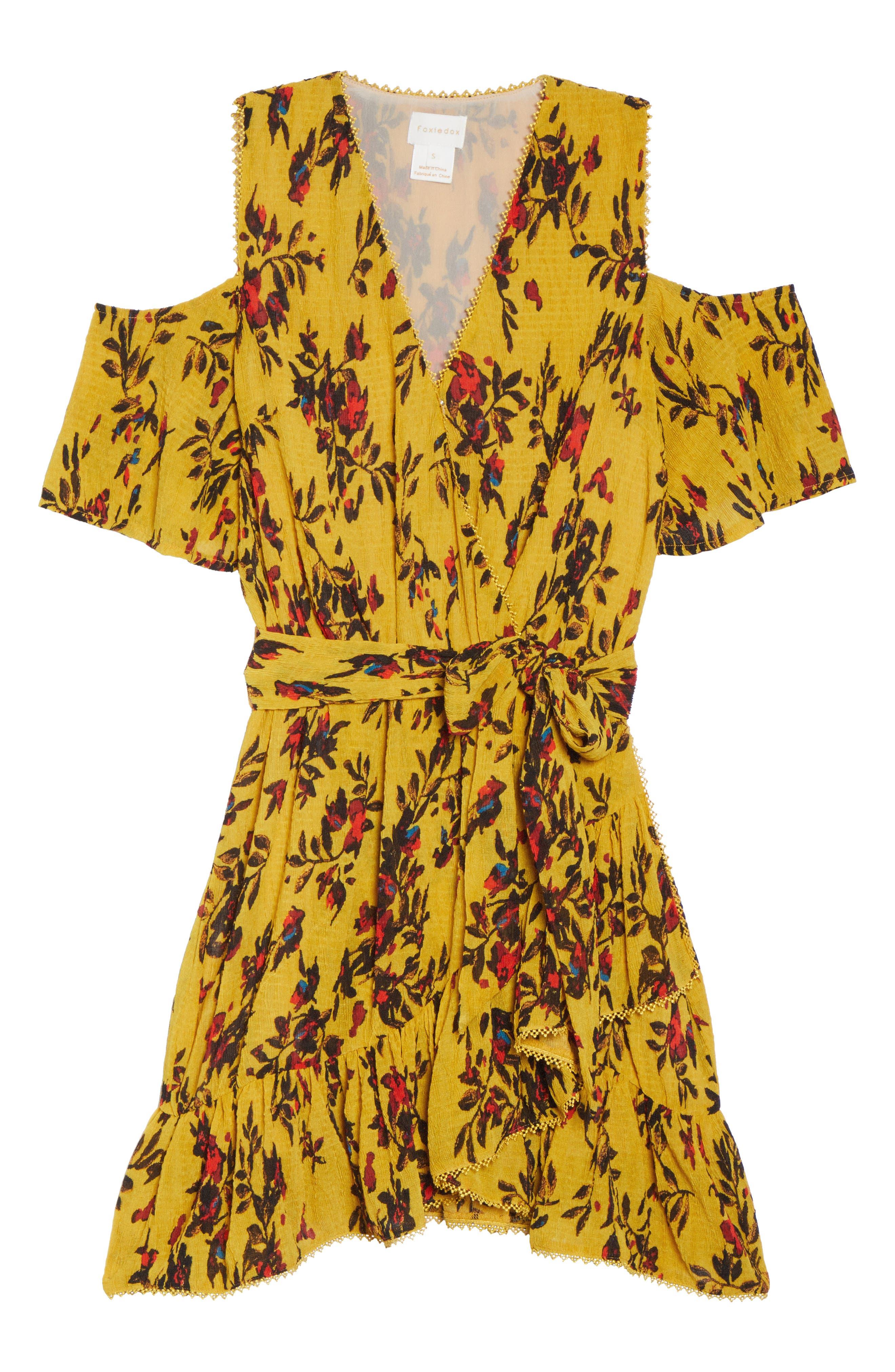 Alternate Image 6  - Foxiedox Windsome Floral Cold Shoulder Wrap Dress
