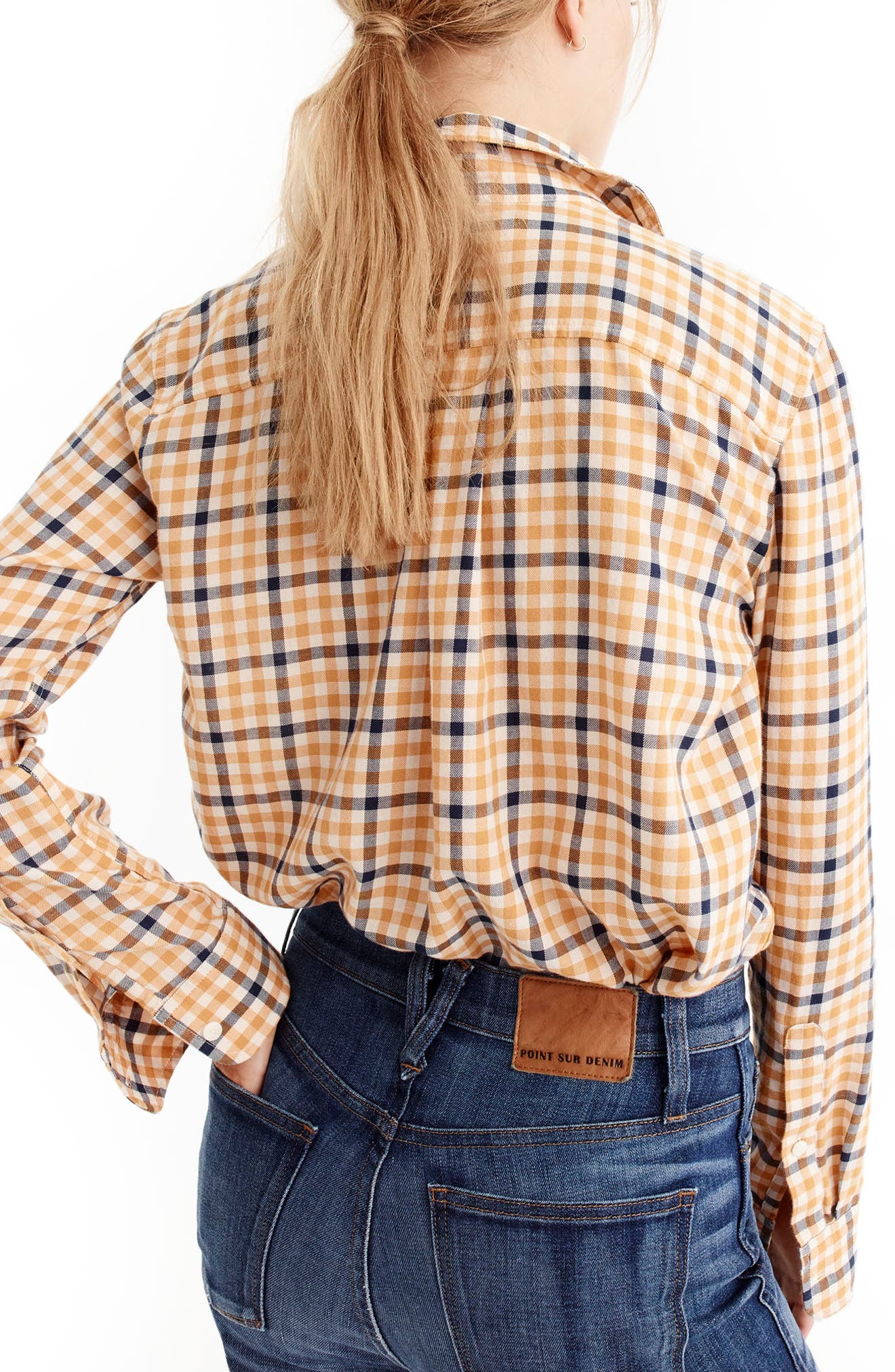 J.Crew Topaz Plaid Boyfriend Shirt,                             Alternate thumbnail 2, color,                             Bronzed Topaz
